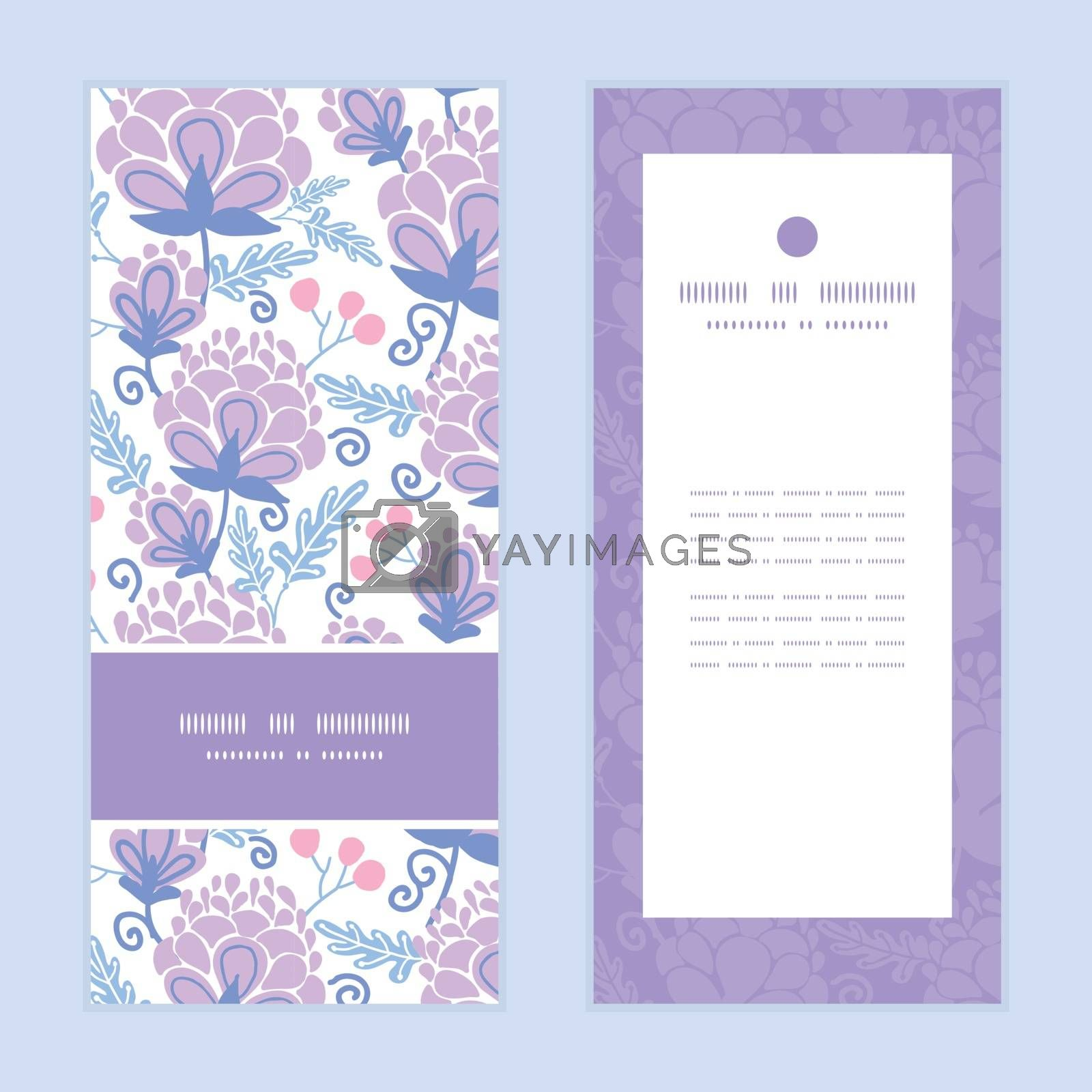 Royalty free image of Vector soft purple flowers vertical frame pattern invitation greeting cards set by Oksancia