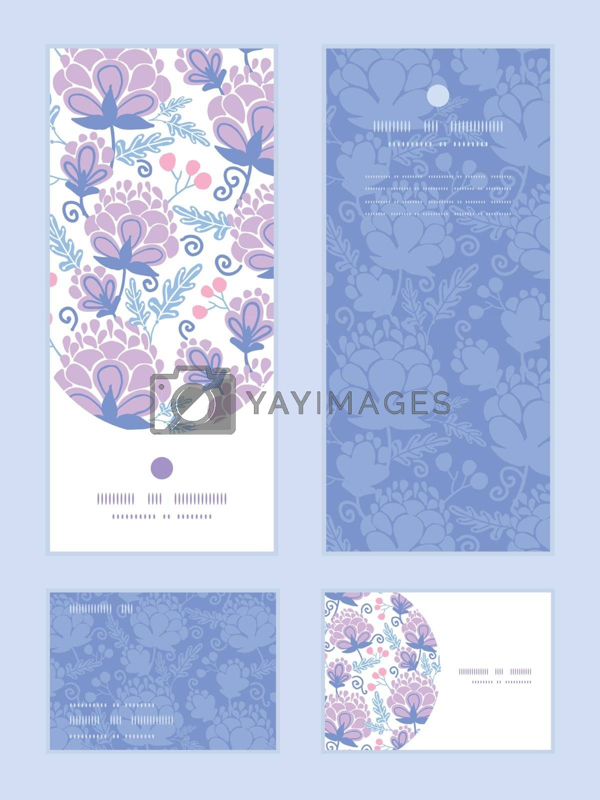 Royalty free image of Vector soft purple flowers vertical frame pattern invitation greeting, RSVP and thank you cards set by Oksancia