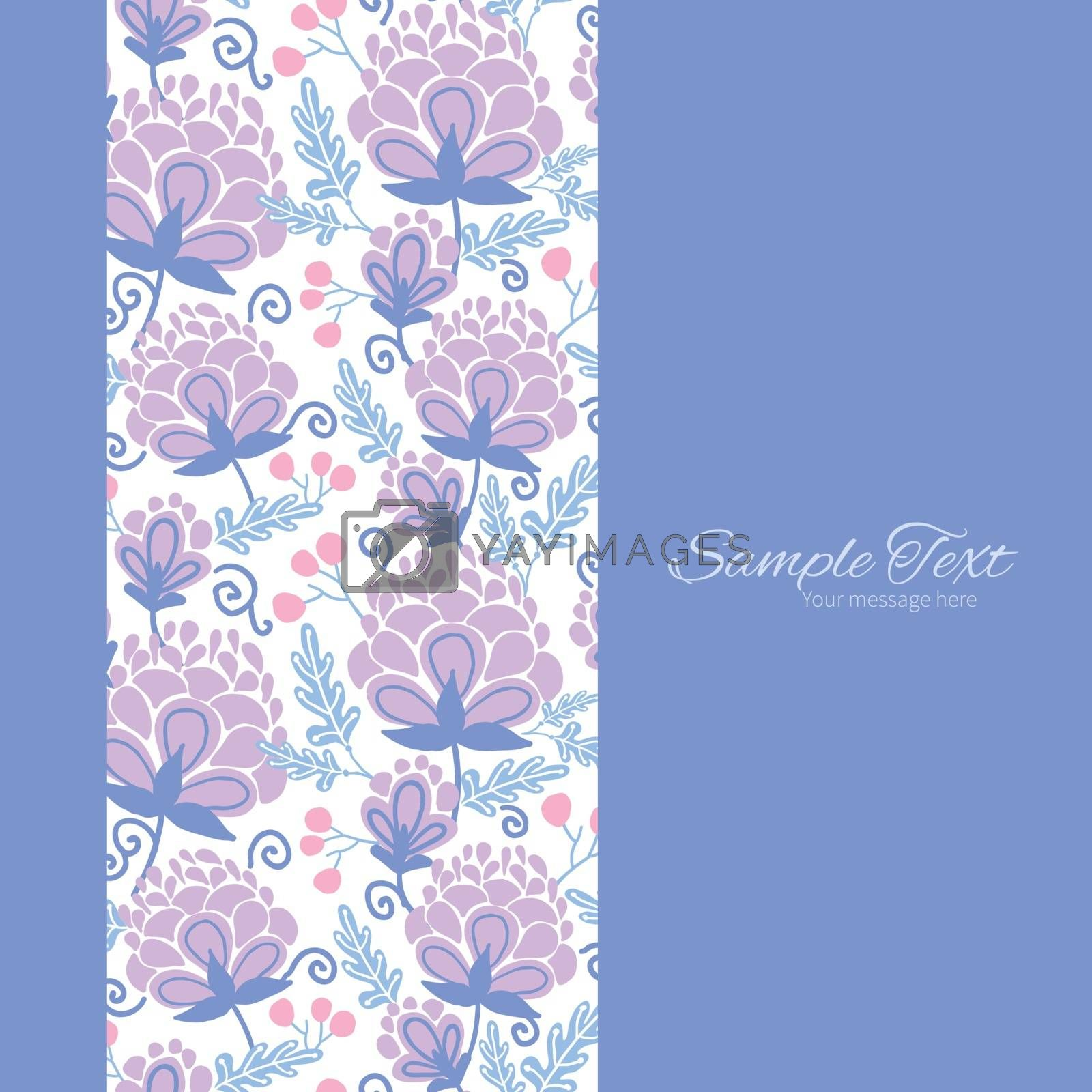 Vector soft purple flowers vertical frame seamless pattern background graphic design