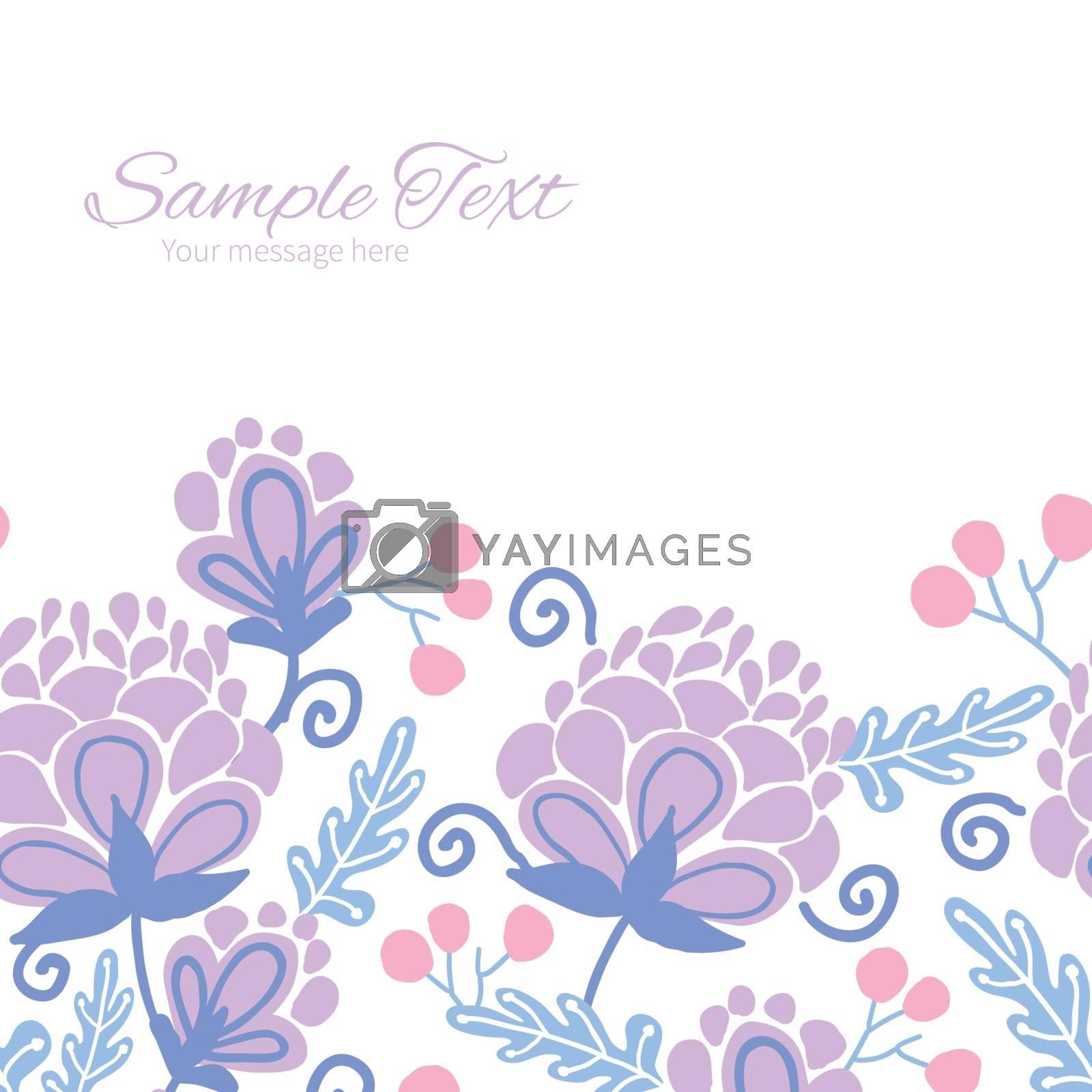 Vector soft purple flowers horizontal frame seamless pattern background graphic design