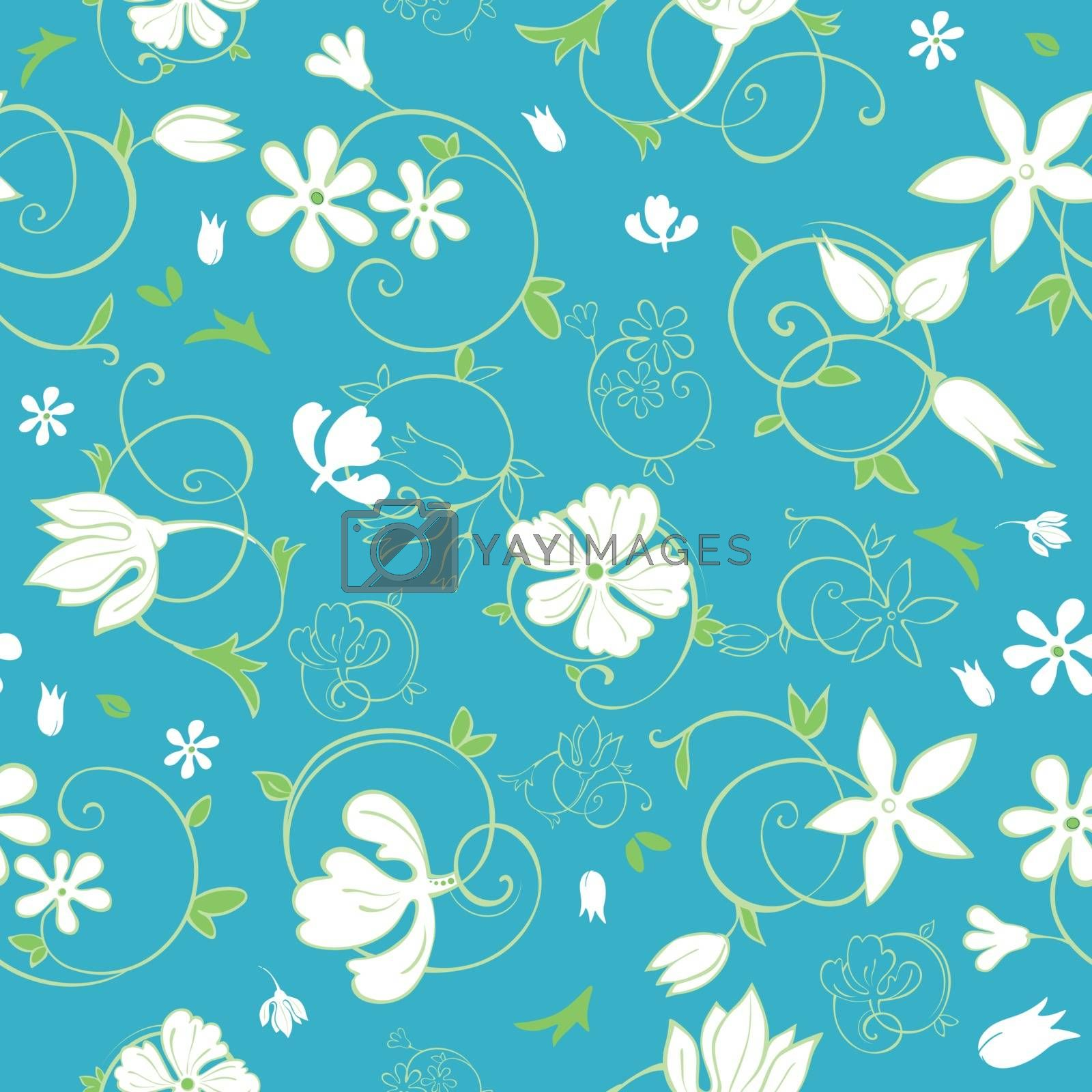 Royalty free image of Vector Blue Green White Spring Florals Seamless Pattern by Oksancia