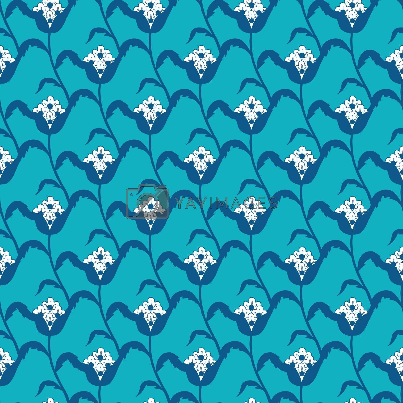 Vector Blue White Stylized Flowers Geometric Seamless Pattern graphic design