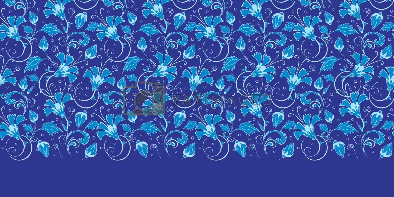 Royalty free image of Vector dark blue turkish floral horizontal border seamless patte by Oksancia