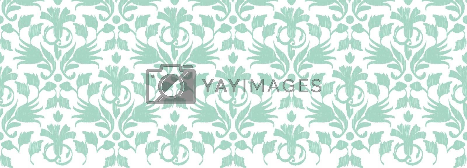 Royalty free image of Vector abstract green ikat horizontal border seamless pattern ba by Oksancia