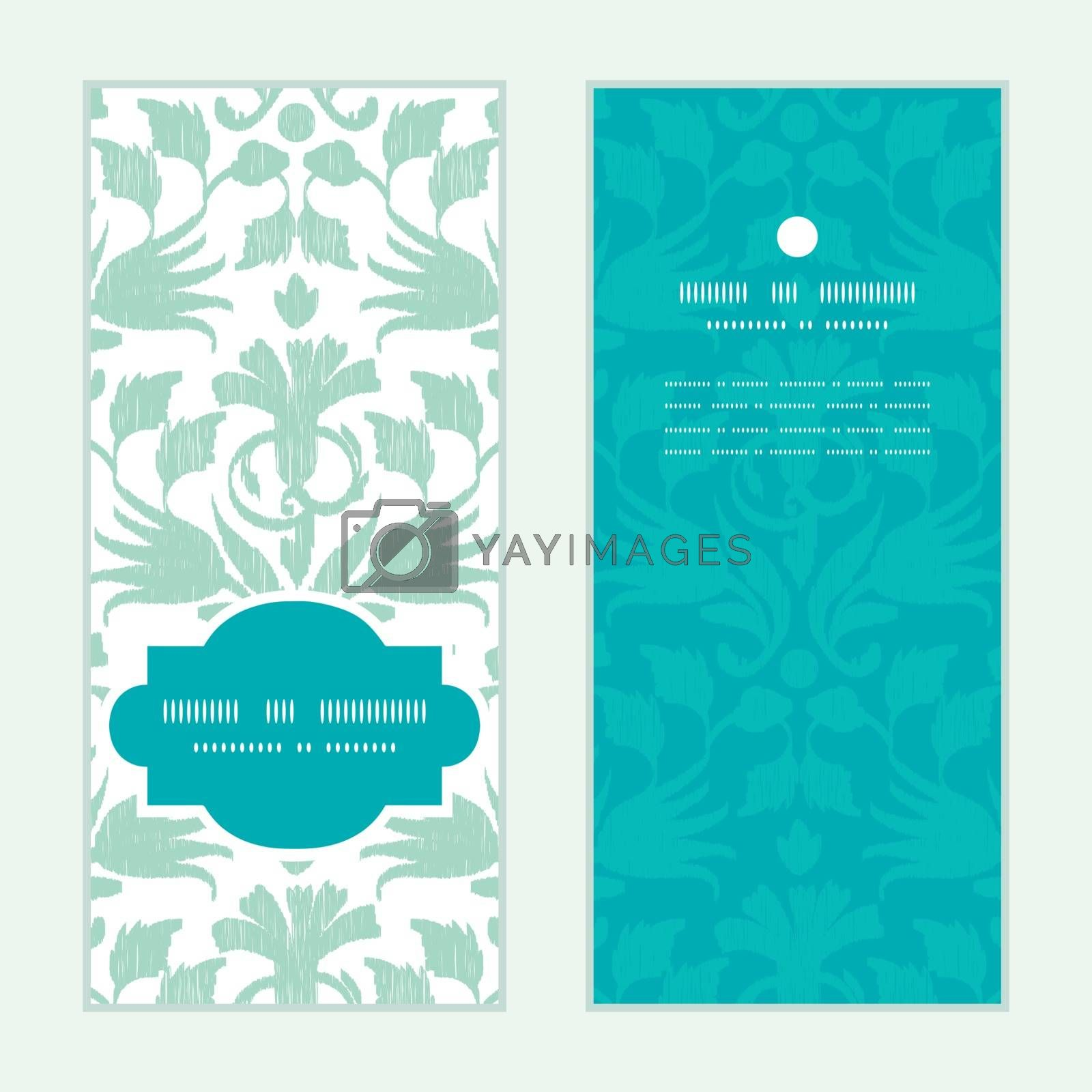Vector abstract green ikat vertical frame pattern invitation greeting cards set graphic design