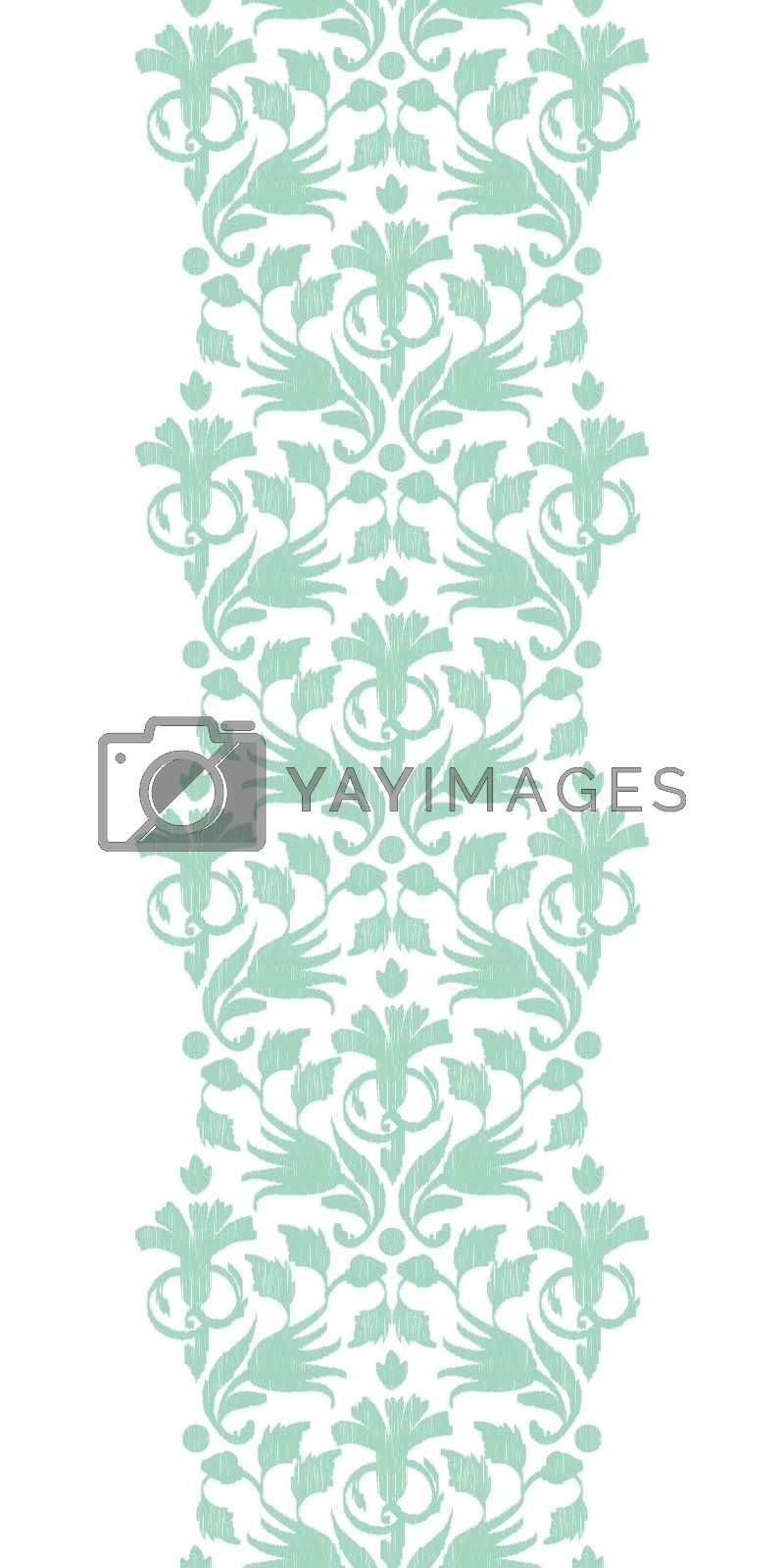 Royalty free image of Vector abstract green ikat vertical border seamless pattern back by Oksancia
