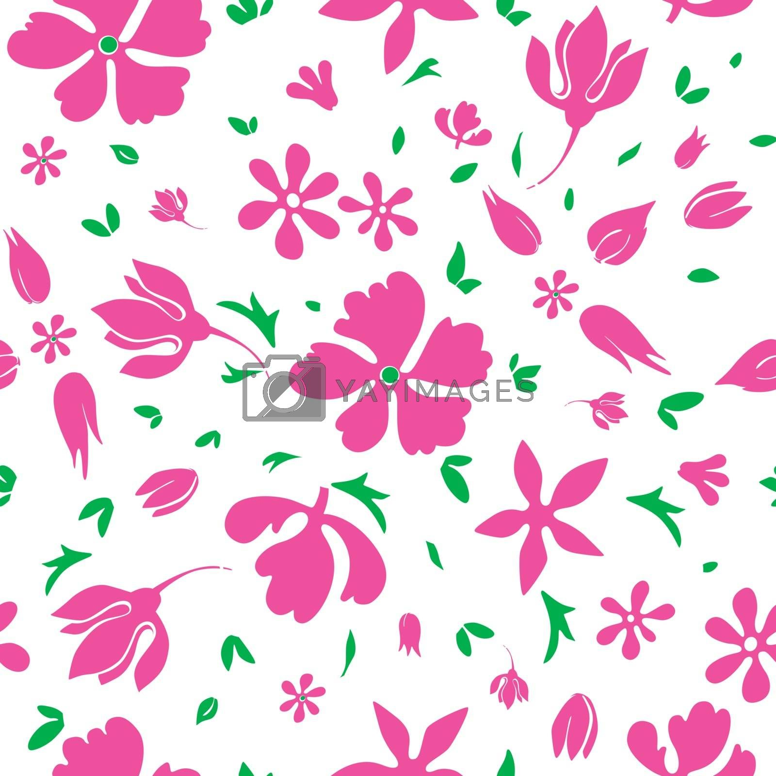 Royalty free image of Vector Magenta Flowers Silhouettes Seamless Pattern by Oksancia