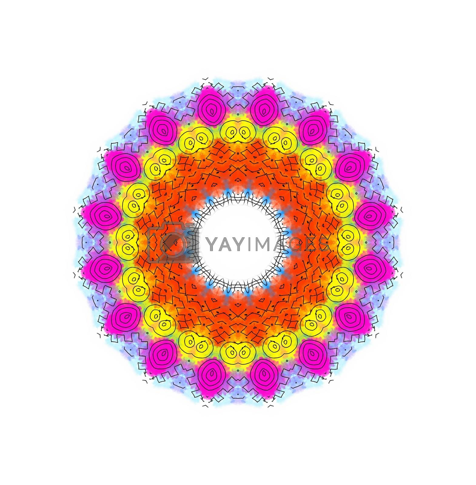 Bright color shape with abstract radial pattern