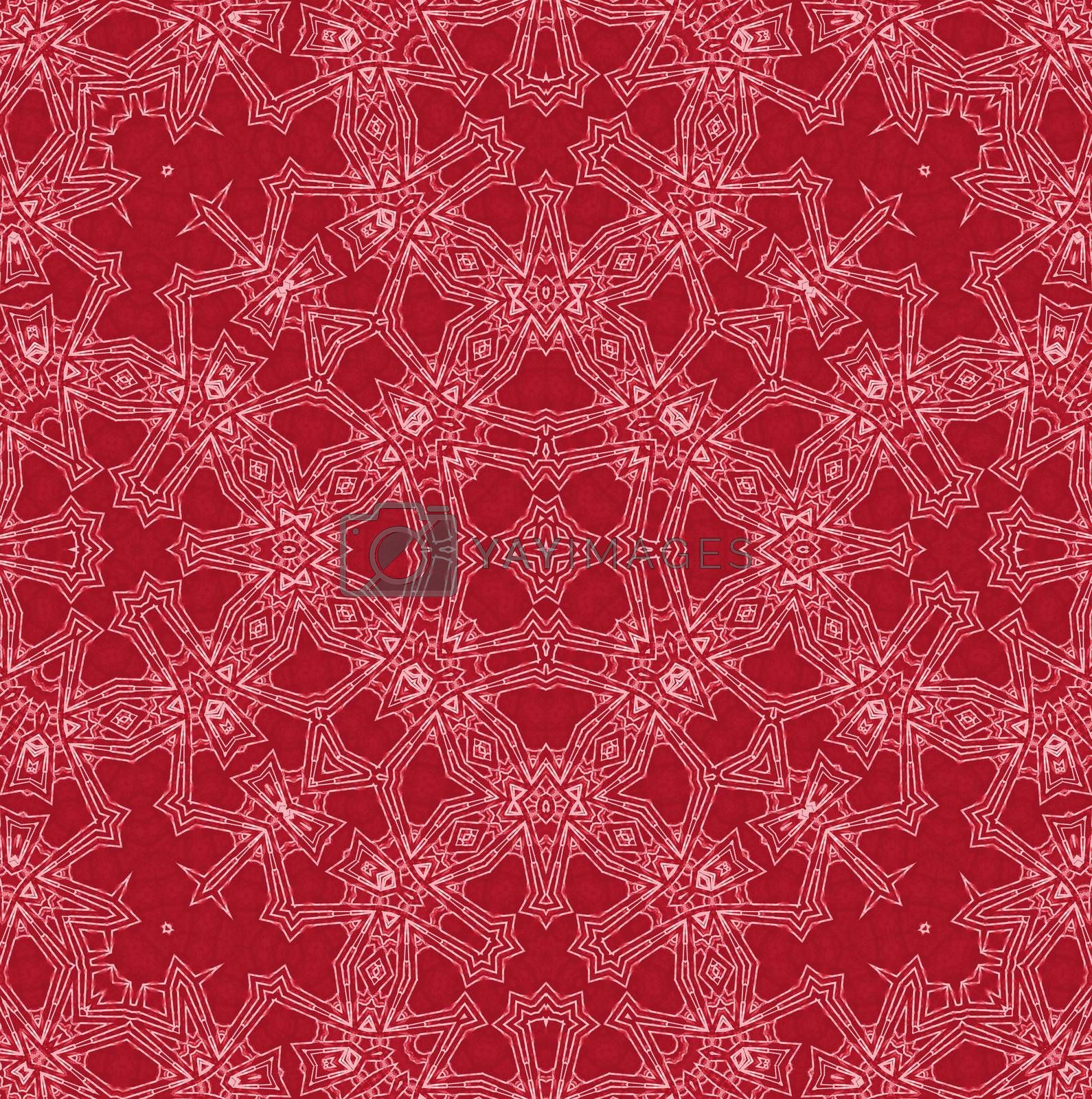 Abstract white pattern on red background
