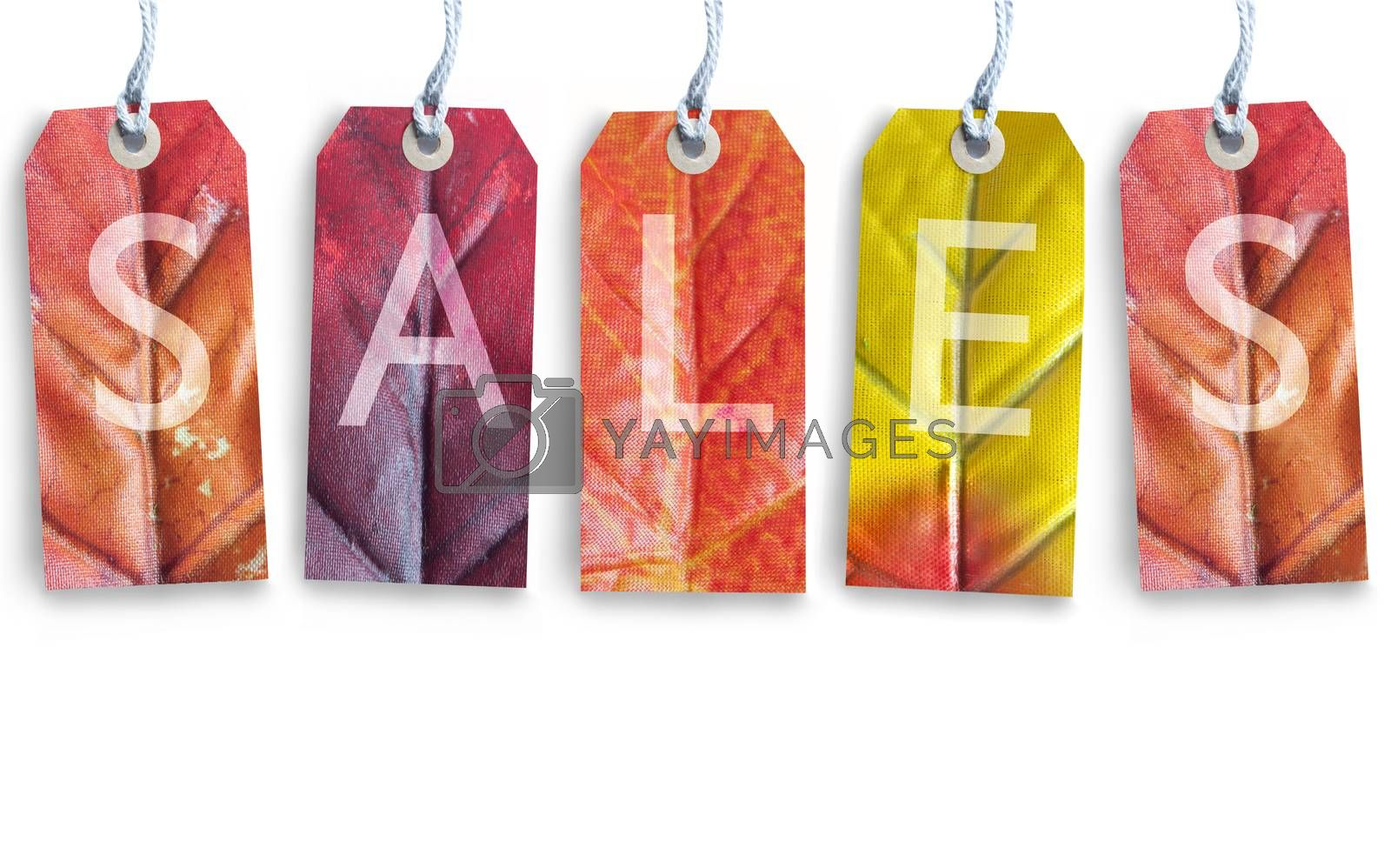 Autumn sales tags over a white background