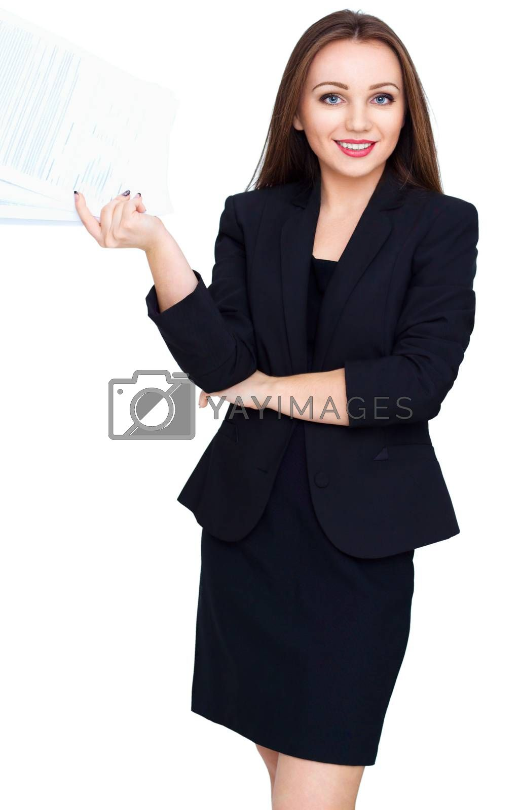 Young beautiful woman hold pages of paper isolated over white
