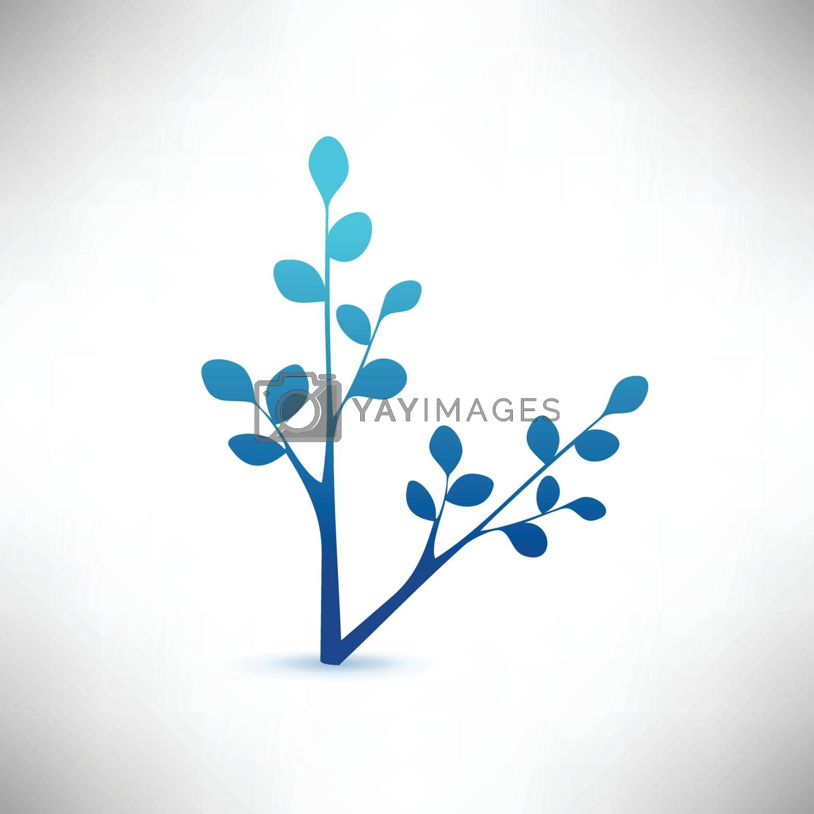 Decorative branch with leaves editable vector illustration