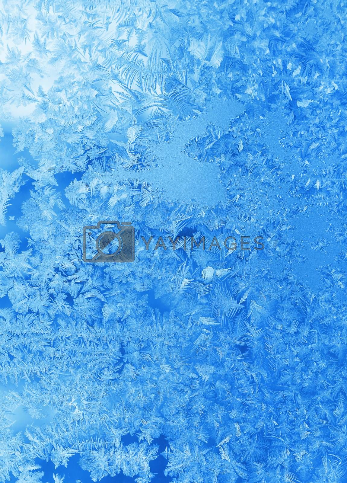 Texture of beautiful natural ice pattern on winter glass