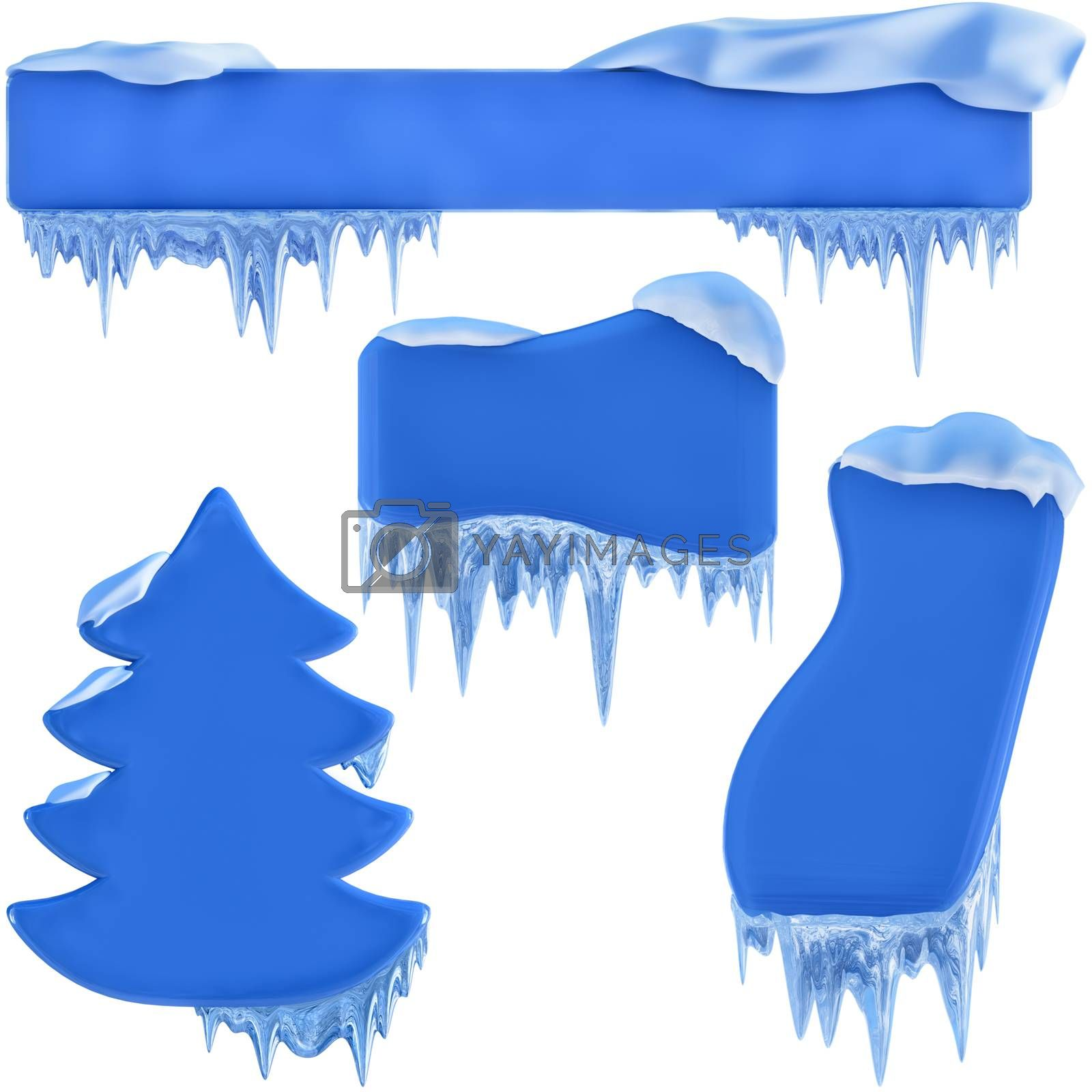 set of banners with snow and icicles, as a symbol winter holidays