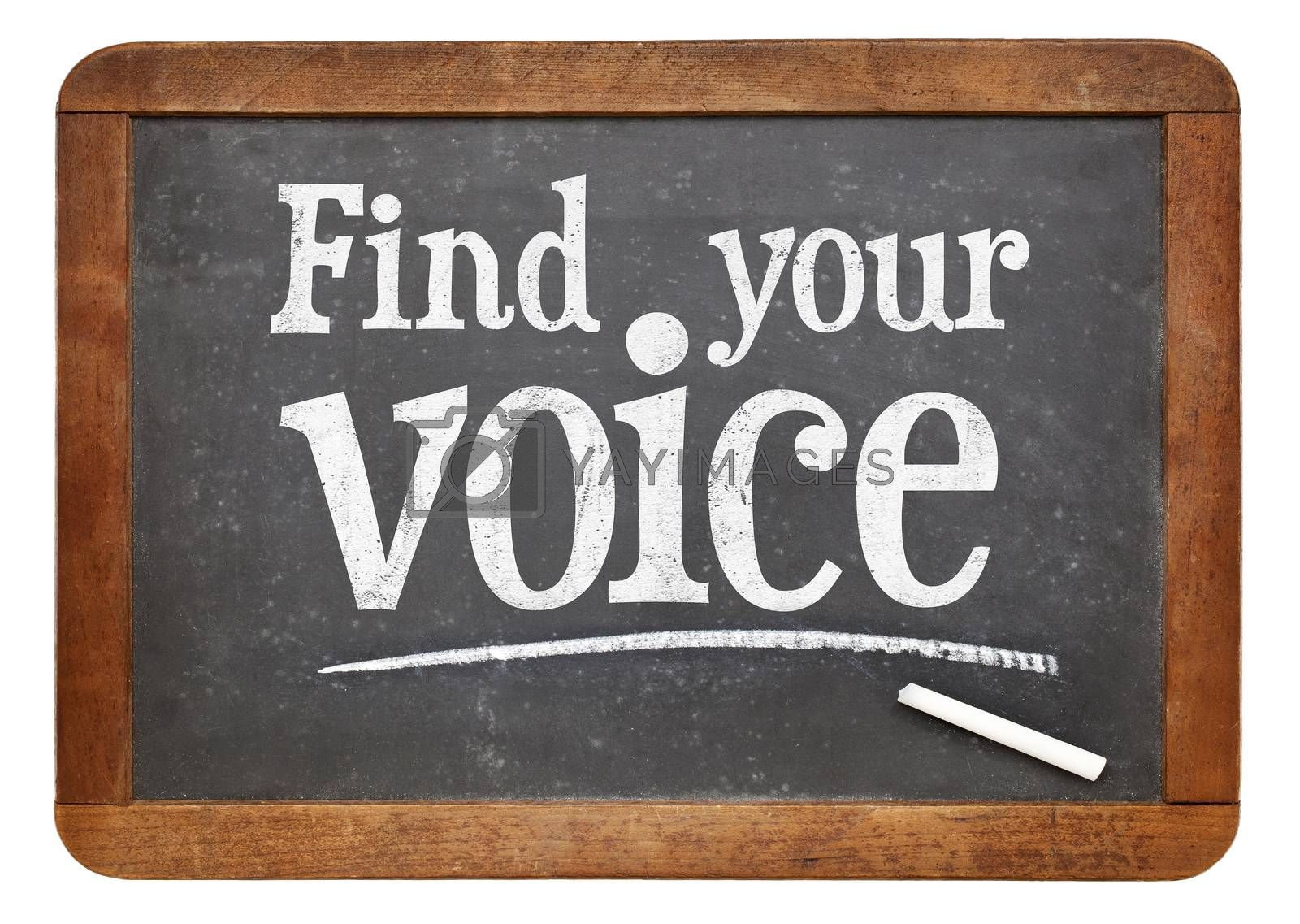 find your voice sign - white chalk text  on a vintage slate blackboard