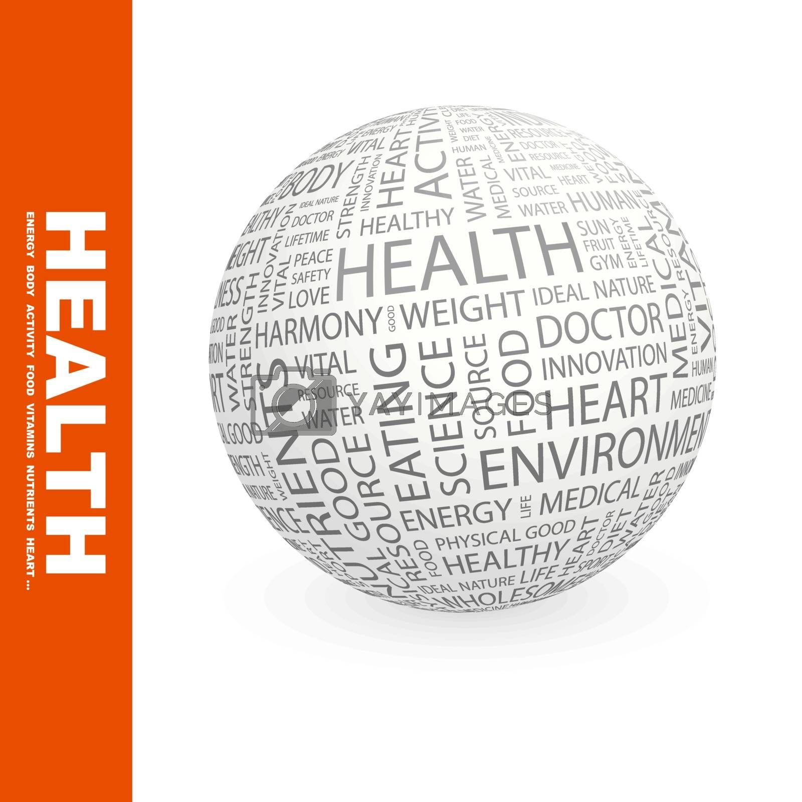 HEALTH. Background concept wordcloud illustration. Print concept word cloud. Graphic collage.