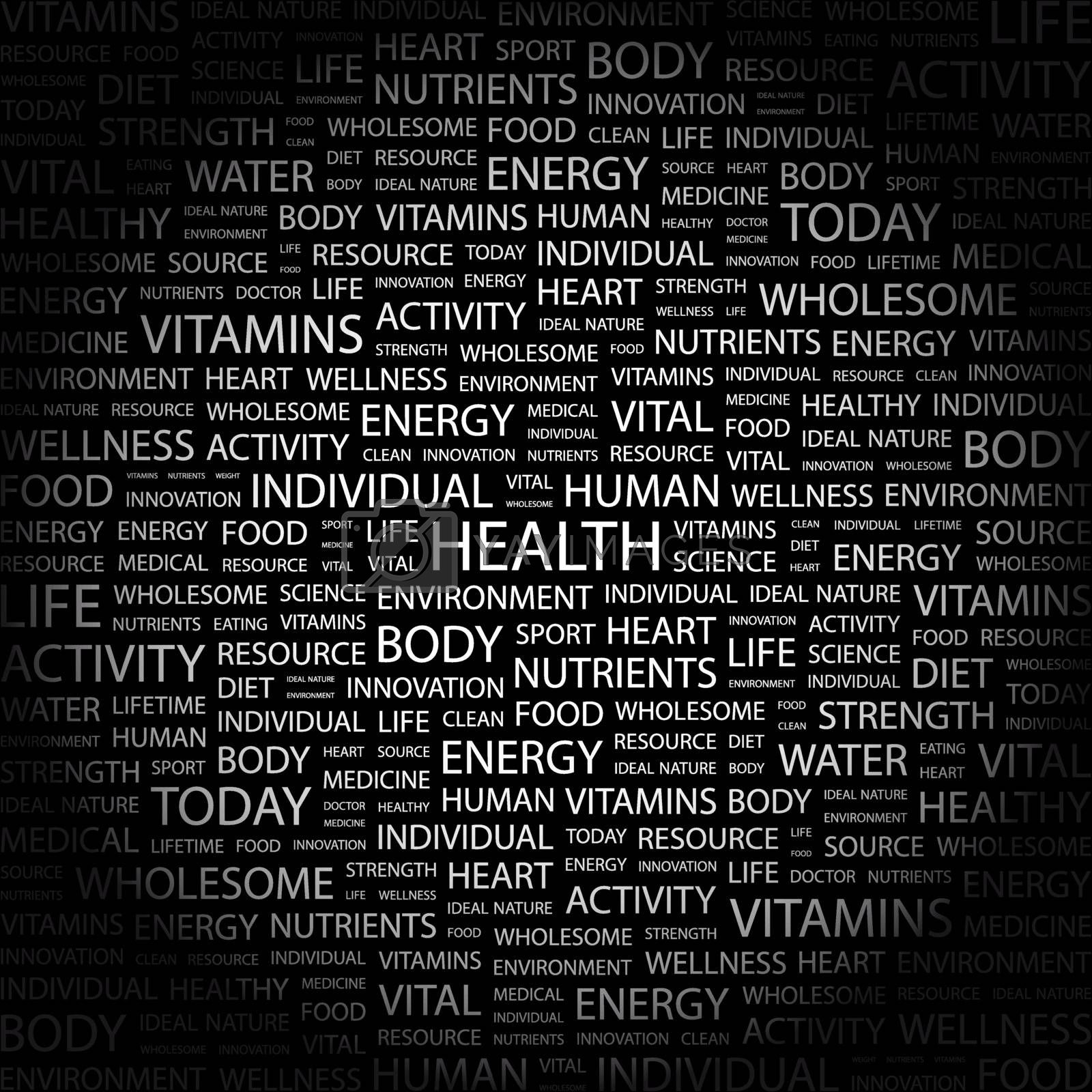 HEALTH. Concept illustration. Graphic tag collection. Wordcloud collage.