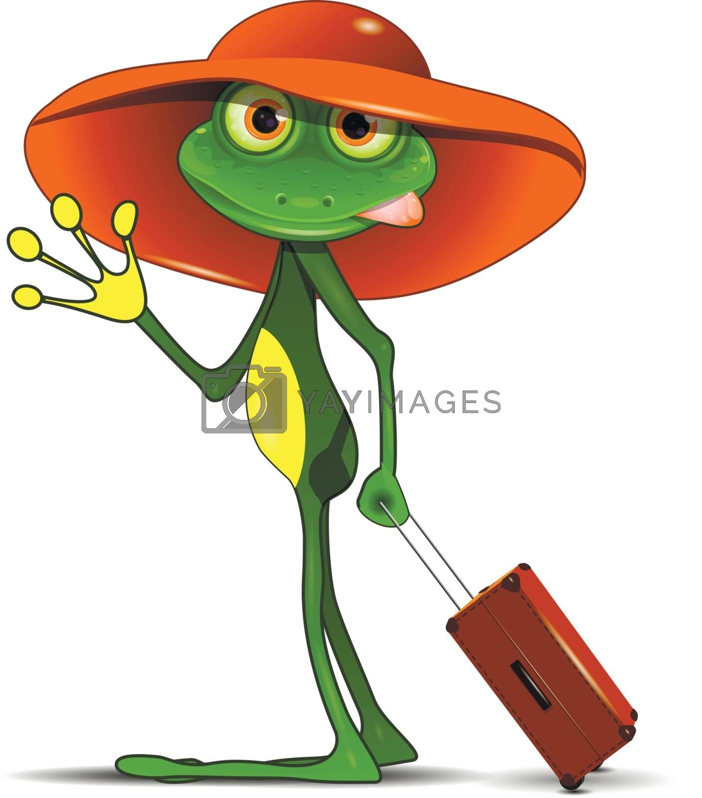 Illustration Frog with a Suitcase in a Hat