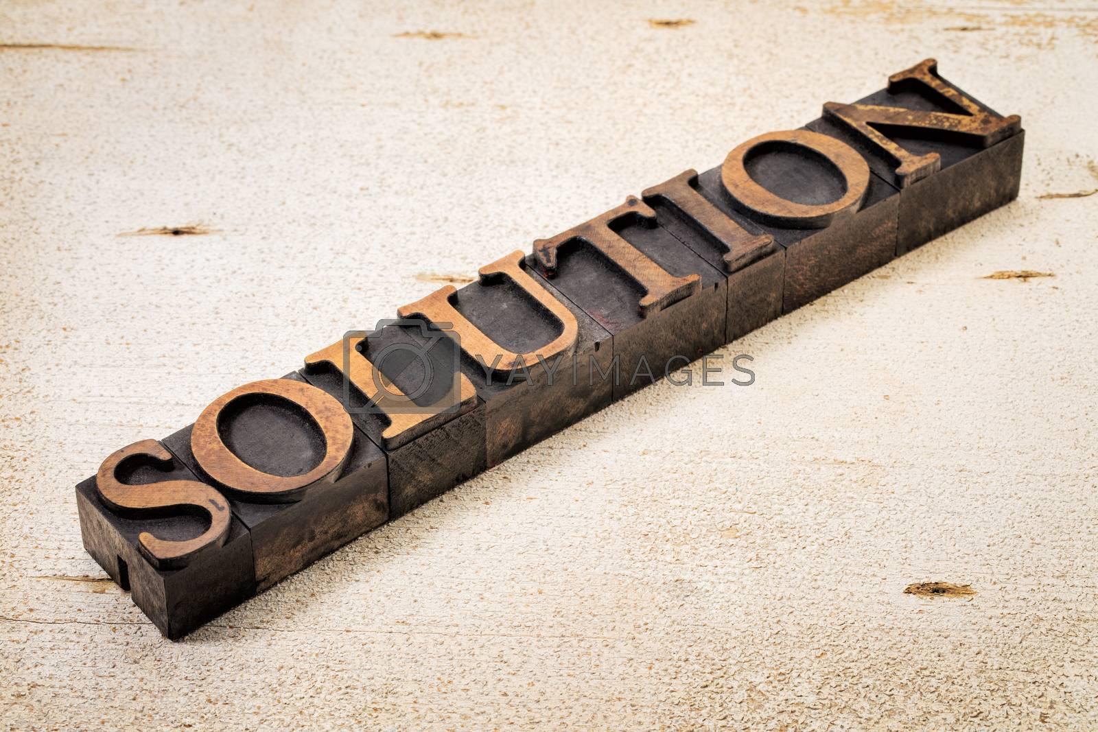 solution word in vintage letterpress wood type against white painted rustic barn wood