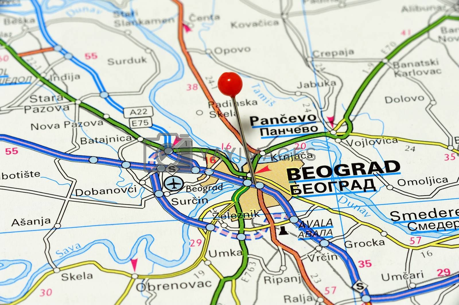 Map with pin point of beograd in serbia