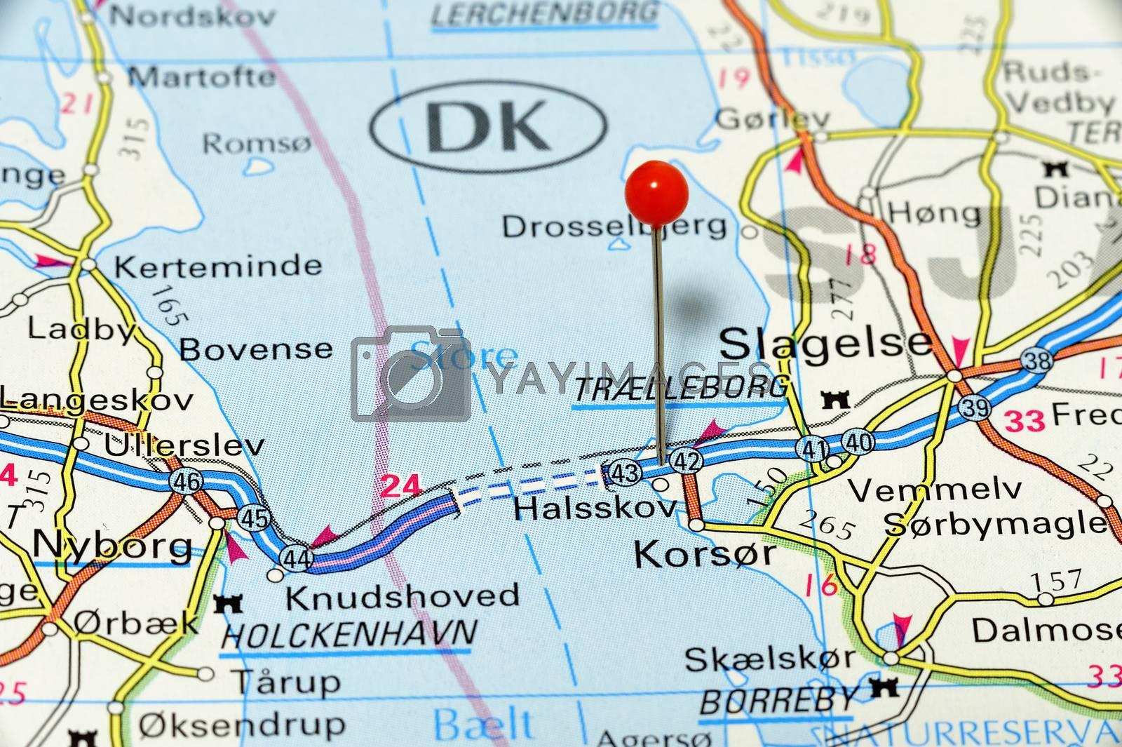 Closup map of Halsskov. Halsskov a city in Denmark.