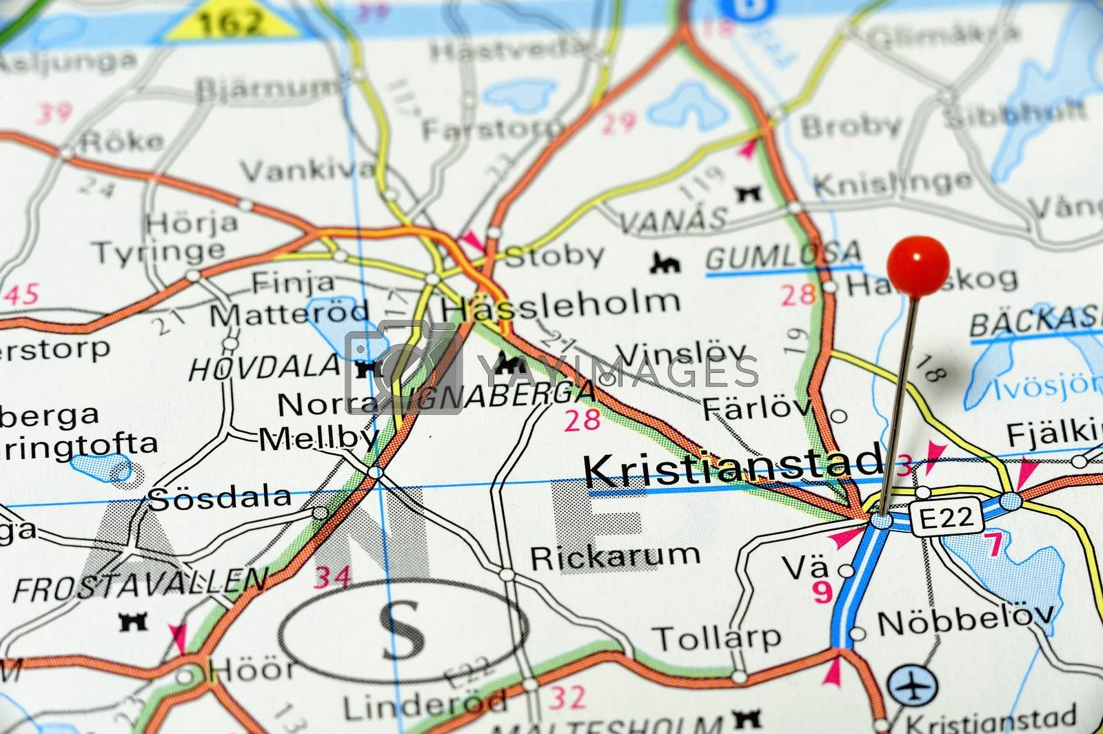 Closup map of Kristiandstad. Krsitiandstad a city in Sweden