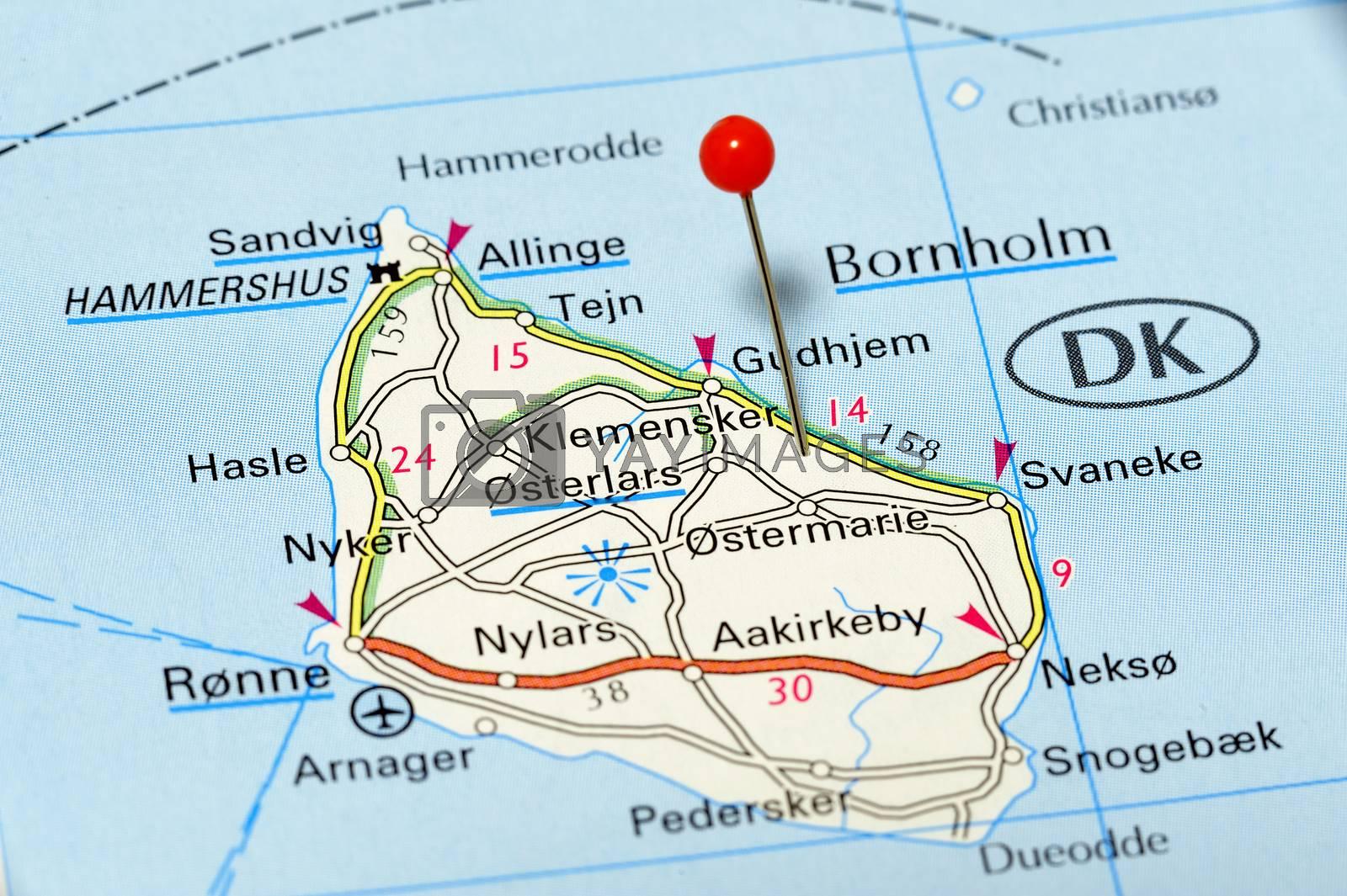 Closeup map of Bornholm. Bornholm a iceland in Denmark
