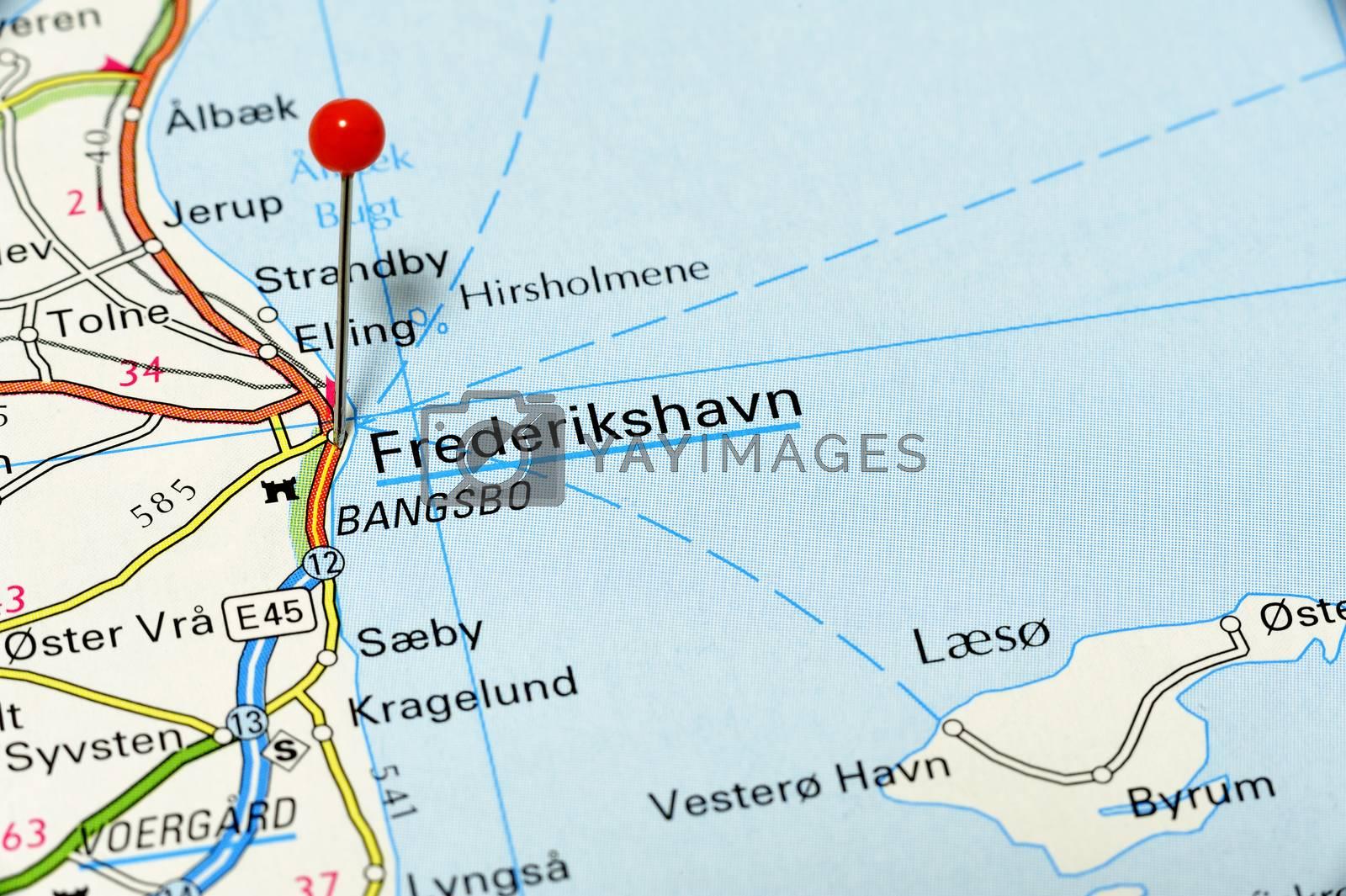 Map of Frederikshavn in Denmark