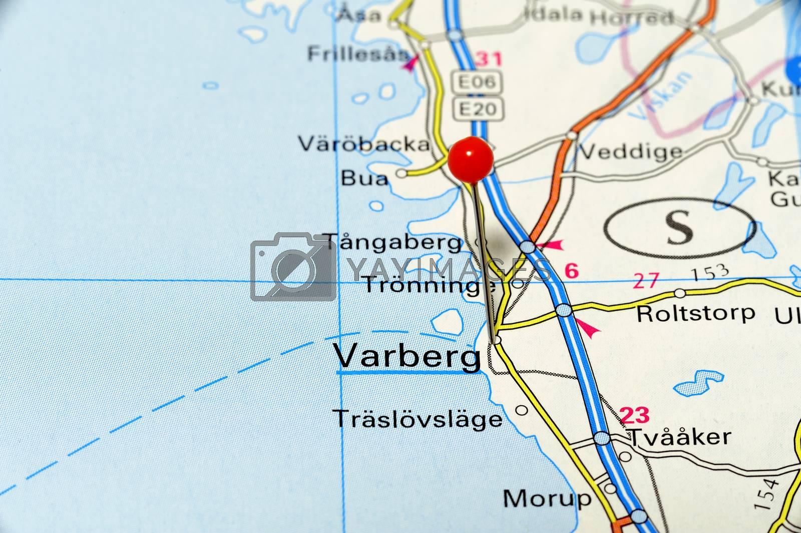 Closeyp map of Varberg. Varberg a city in Sweden