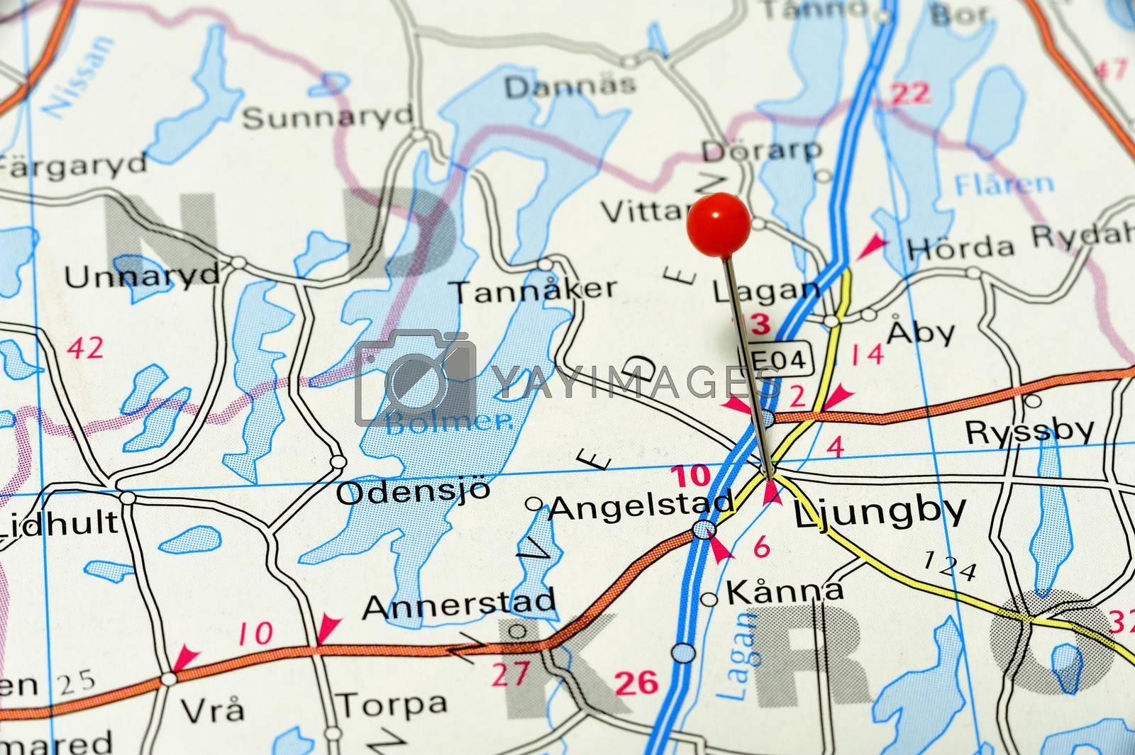 Closeup map of Ljungby. Ljungby a city in Sweden.
