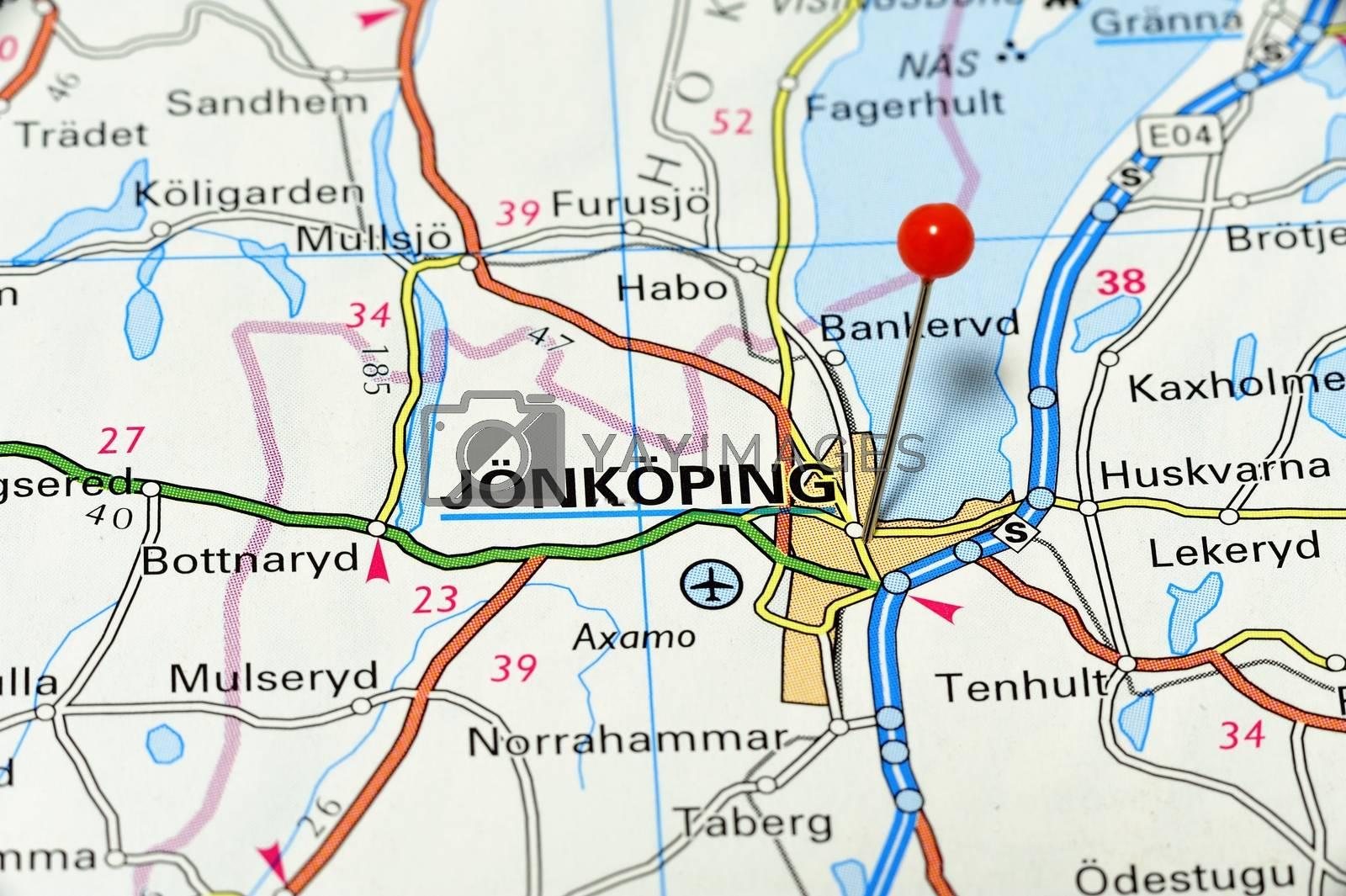 Closeup map of Jönköping. Jönköping a city in Sweden.