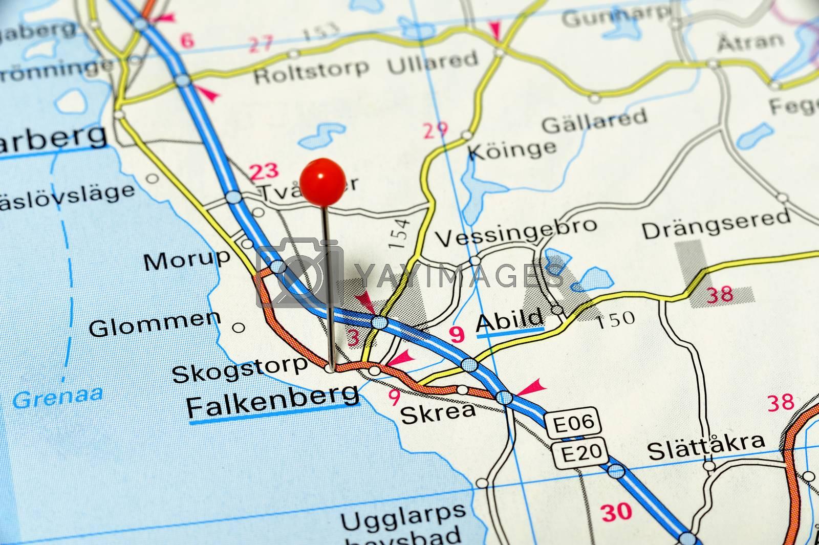 Closeup map of Falkenberg. Falkenberg a city in Sweden