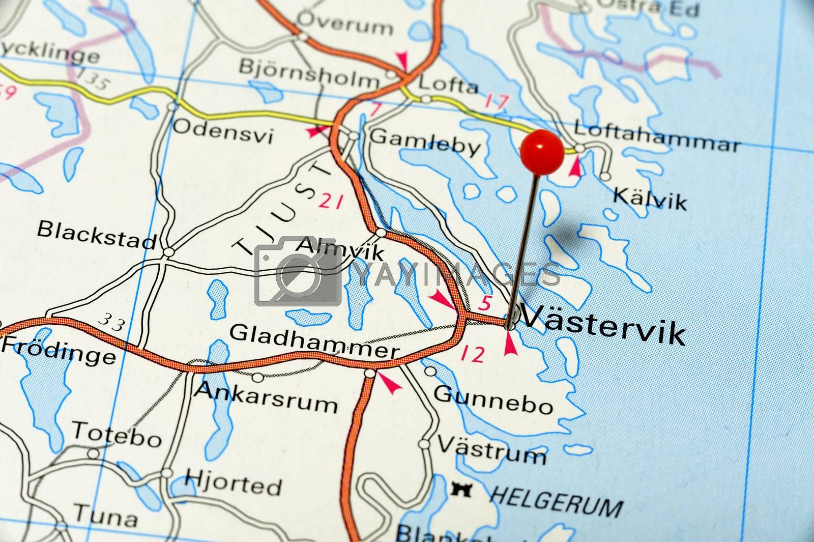 Closeup map of Västervik. Västervik a city in Sweden.