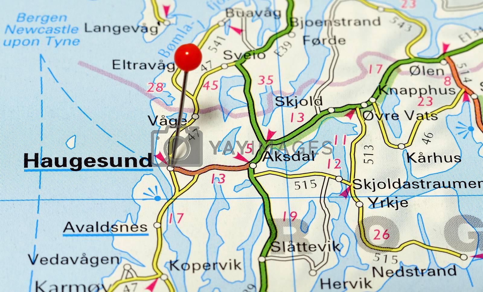 Closeup map of Hugesund. Haugesunda city in Norway.