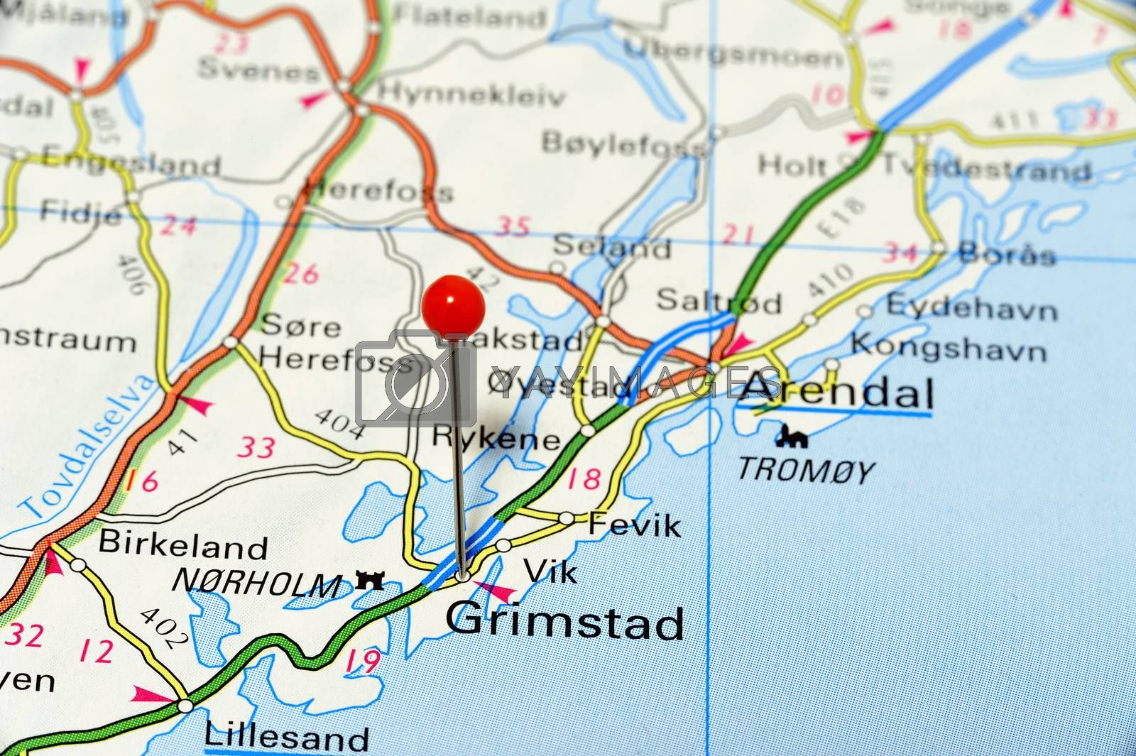 Closup map of Grimstad. Grimstad a city in Norway.