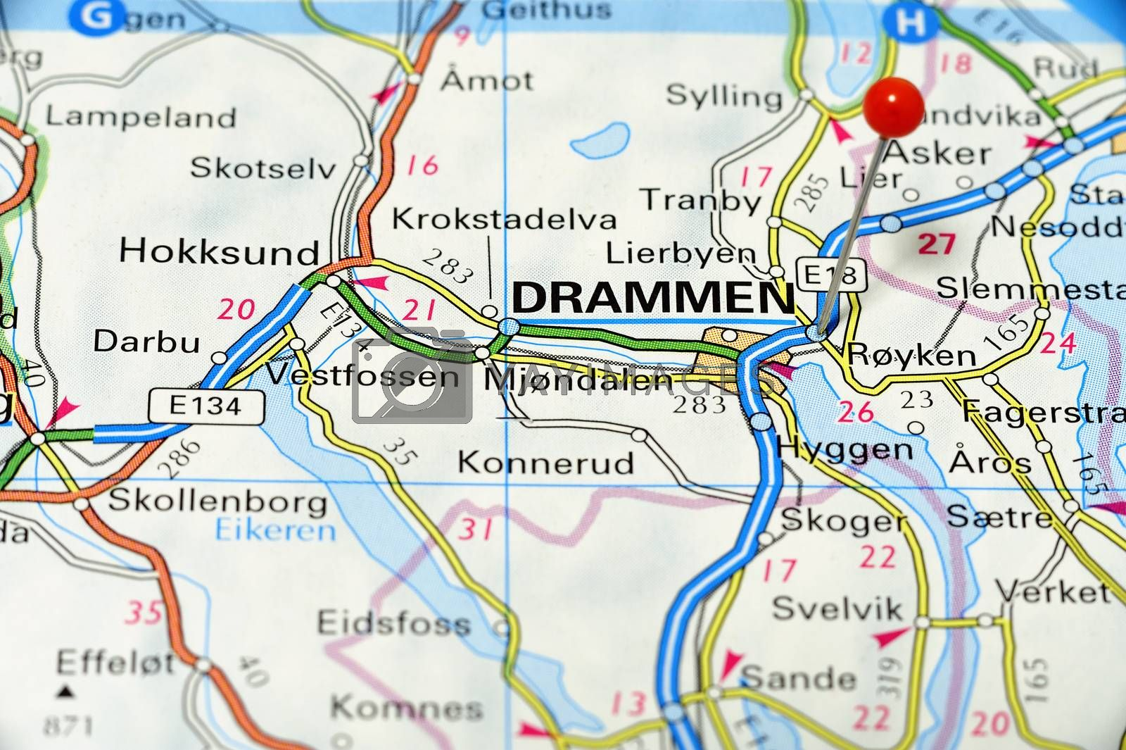 Closeup map of Drammen. Drammen a city in Norway.