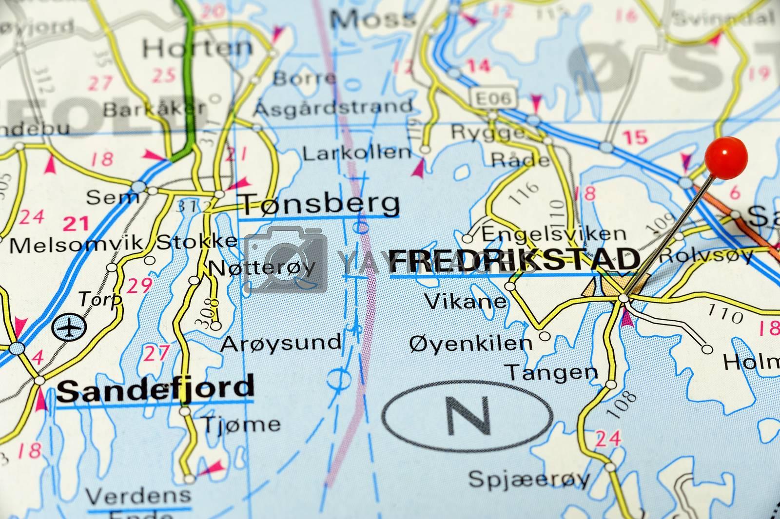 Closeup map of Fredrikstad. Fredrikstad a city in Norway.