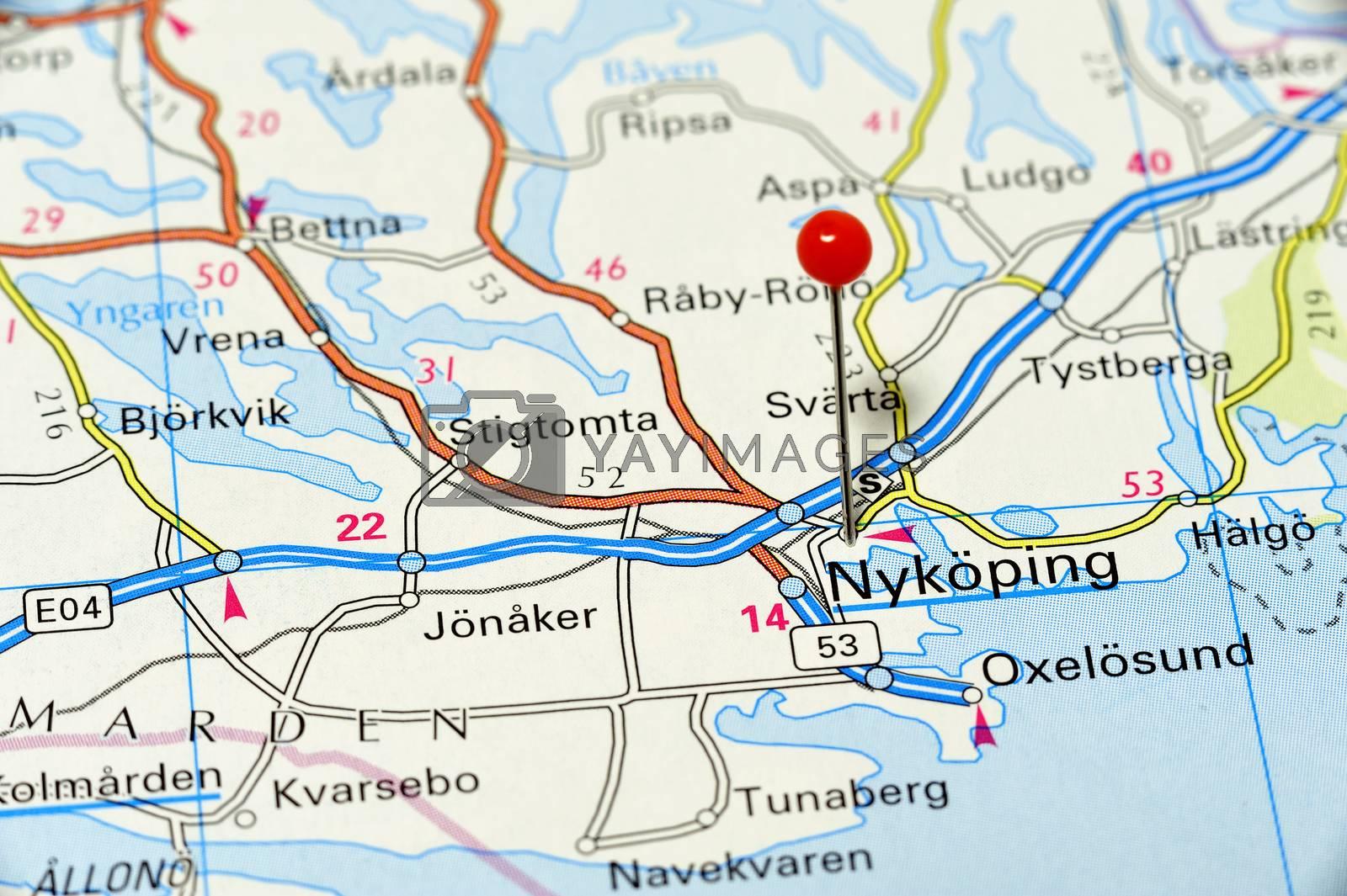Closeup map of Nyköping. Nyköping a city in Sweden.