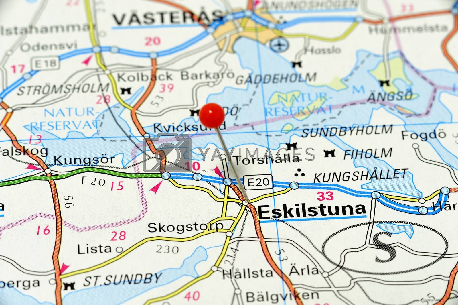 Closeup map of Eskilstuna. Eskilstuna a city in Sweden.