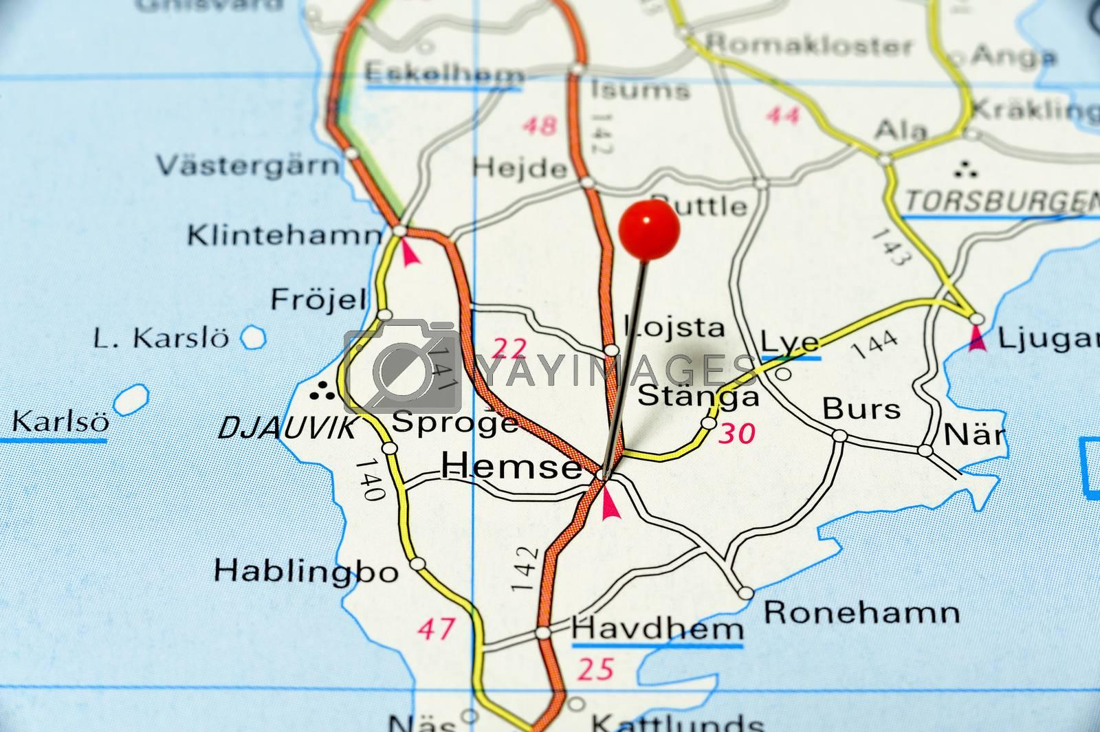 Closeup map of Hemse. Hemse a city on the Island Gotland.