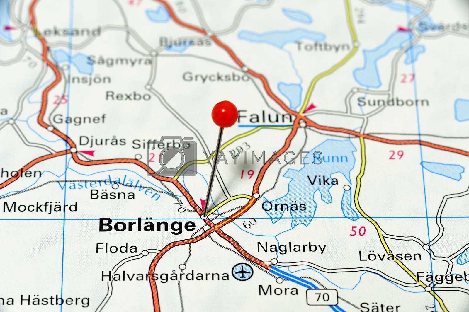 Closeup map of Bergen. Bergen a city in Norway.