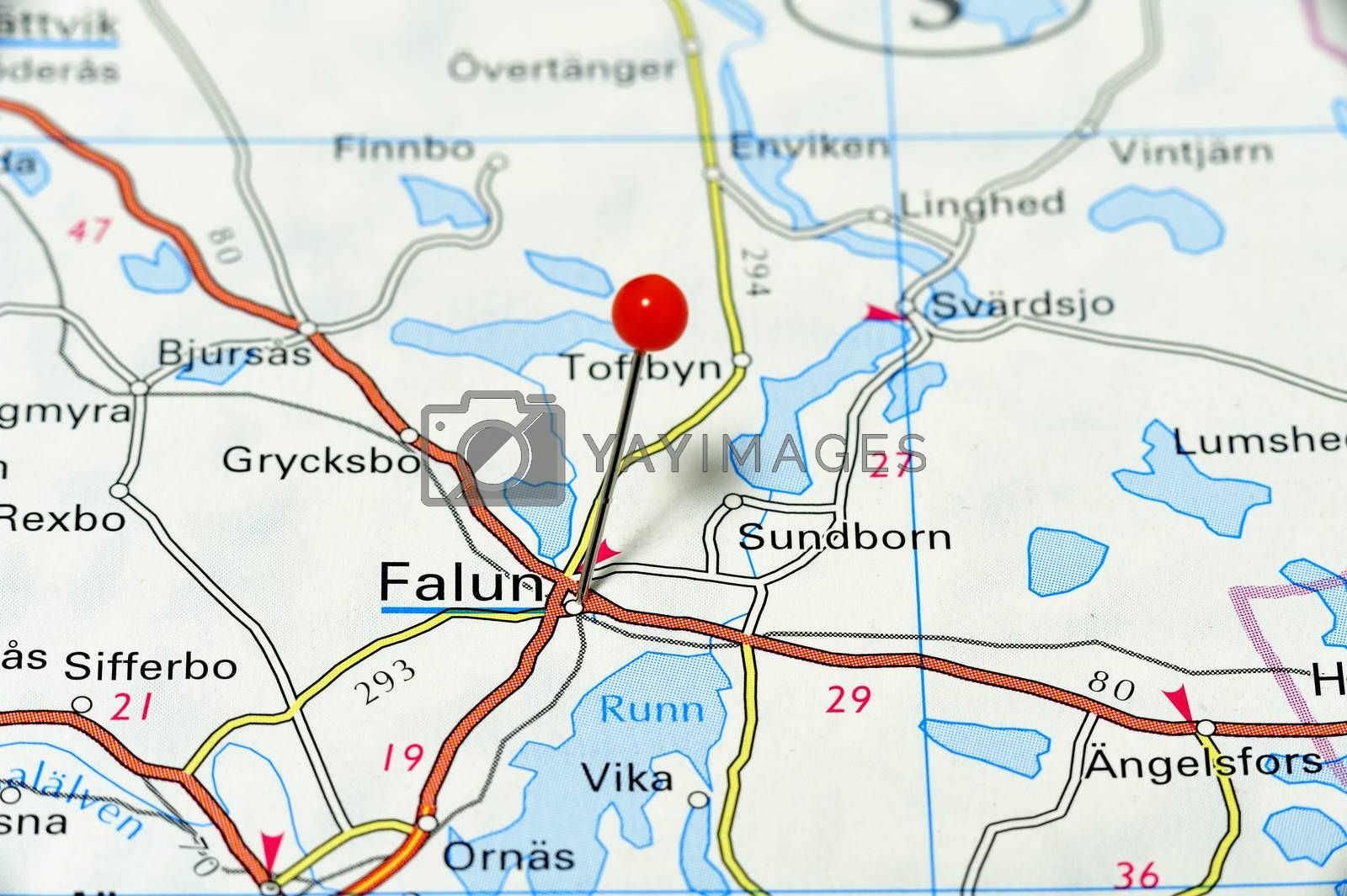 Closeup map of Ludvika. Ludvika a city in Sweden.