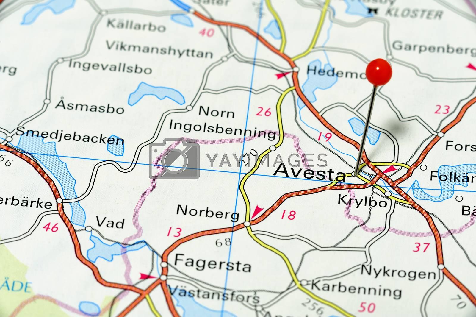 Closeup map of Avesta. Avesta a city in Sweden.
