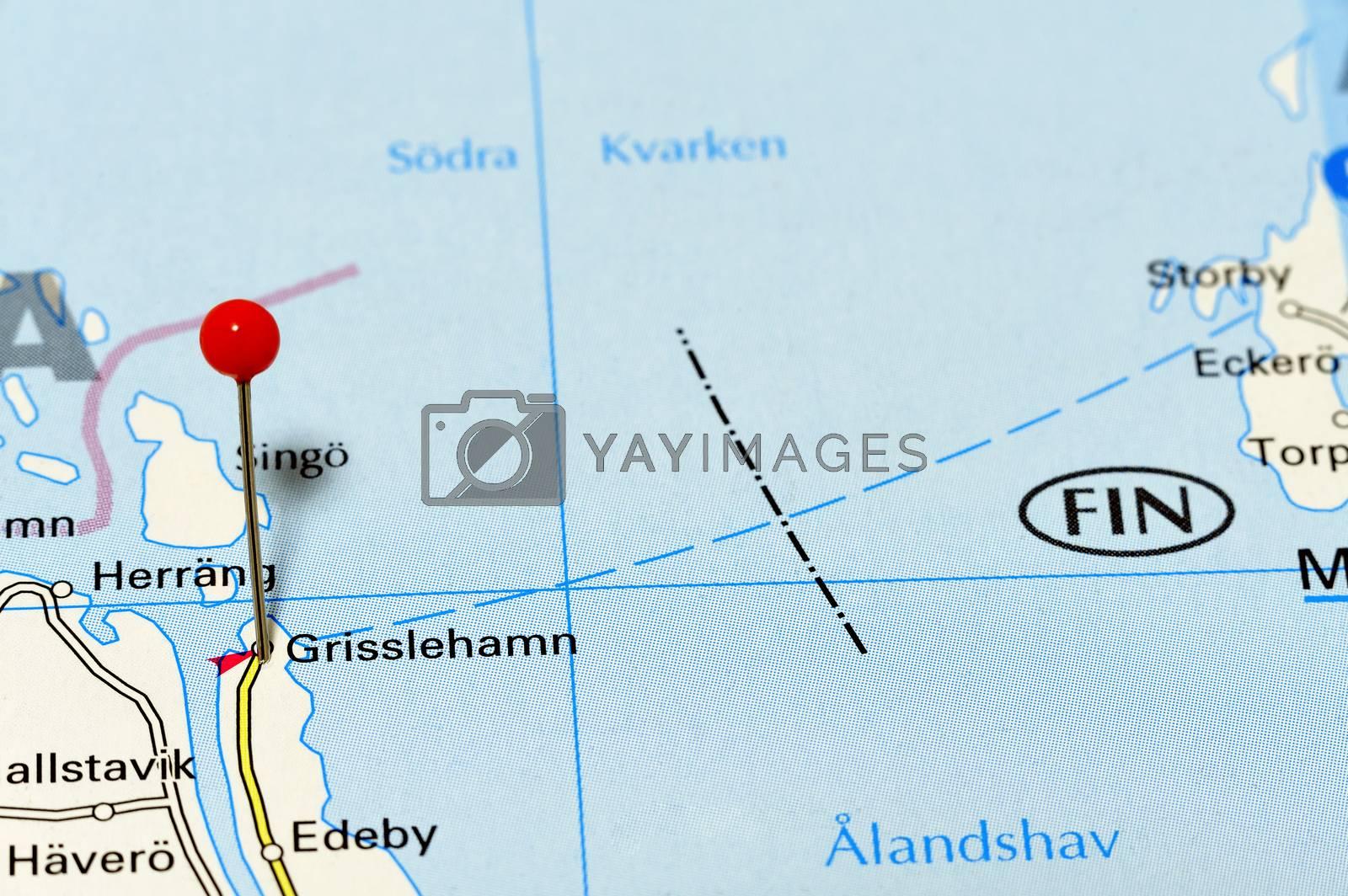 Closeup map of Grsslehamn. Grisslehamn a city in Sweden.