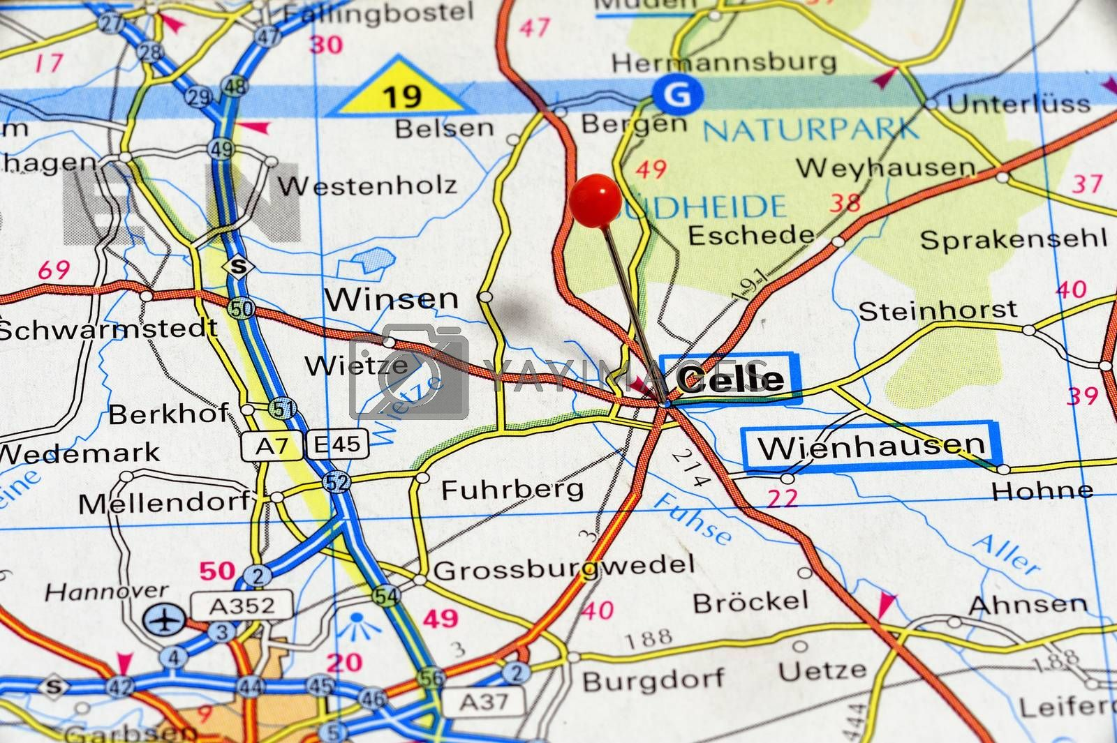 European cities on map series: Celle