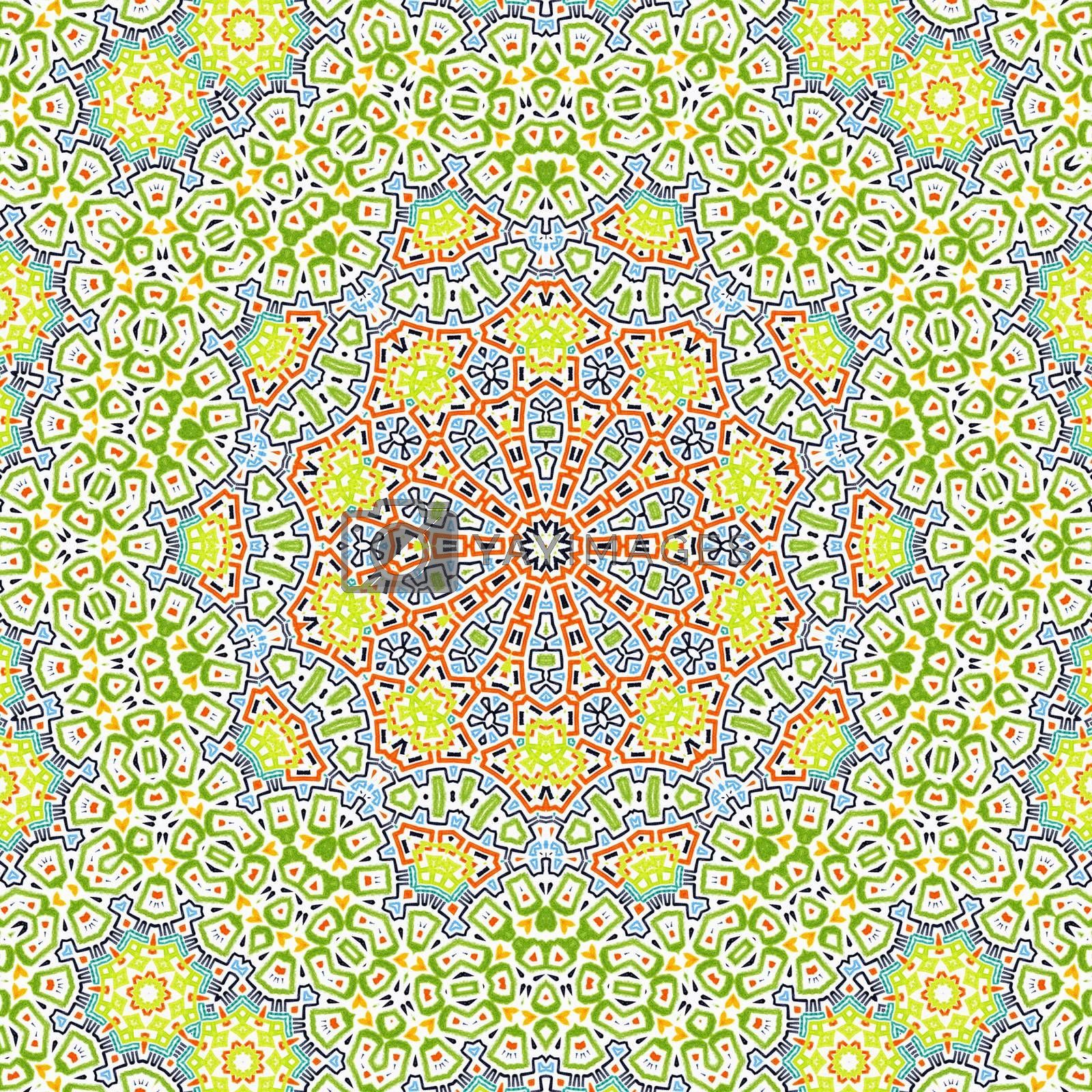 Bright colorful background with abstract concentric pattern