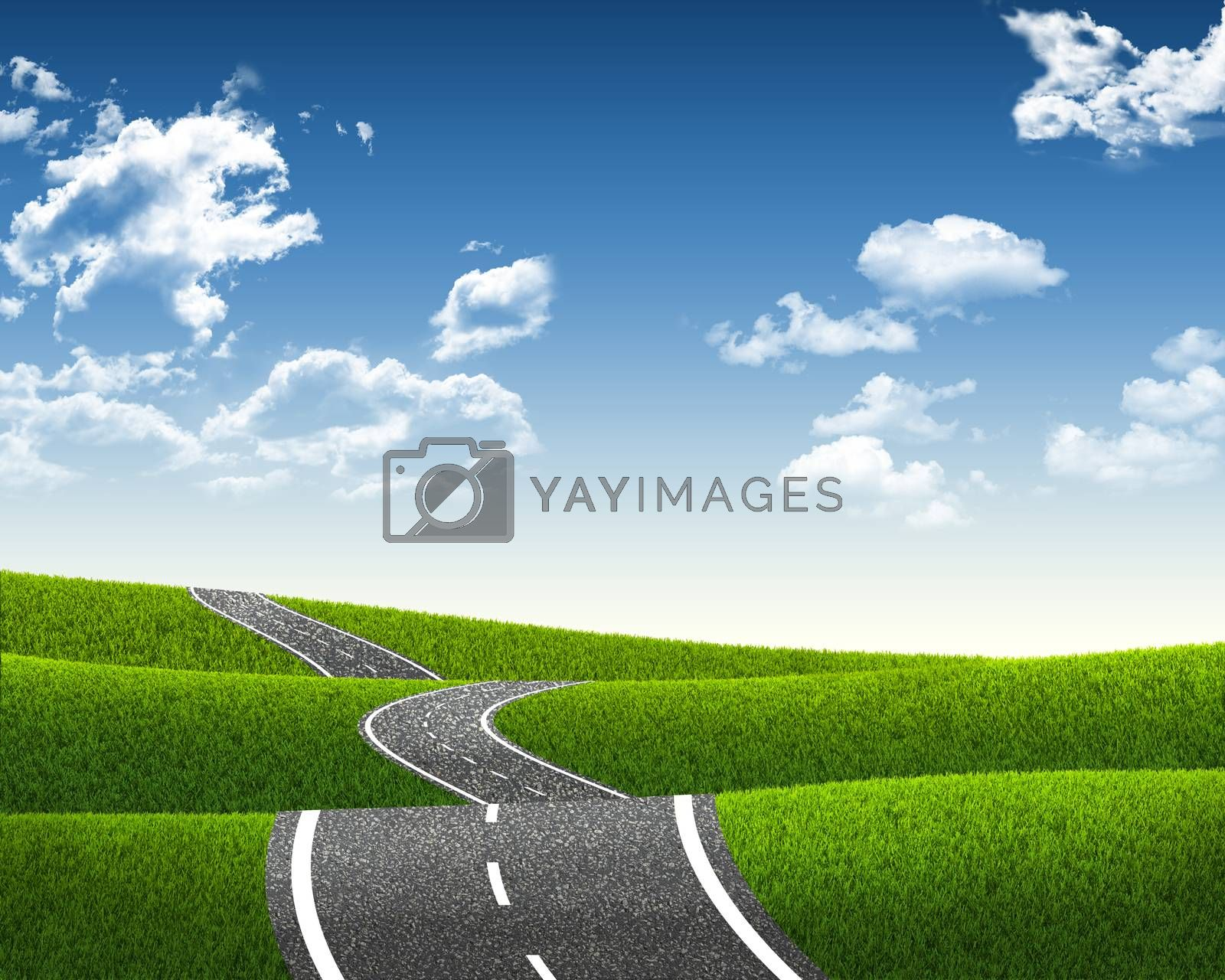 Landscape with road under blue sky with clouds