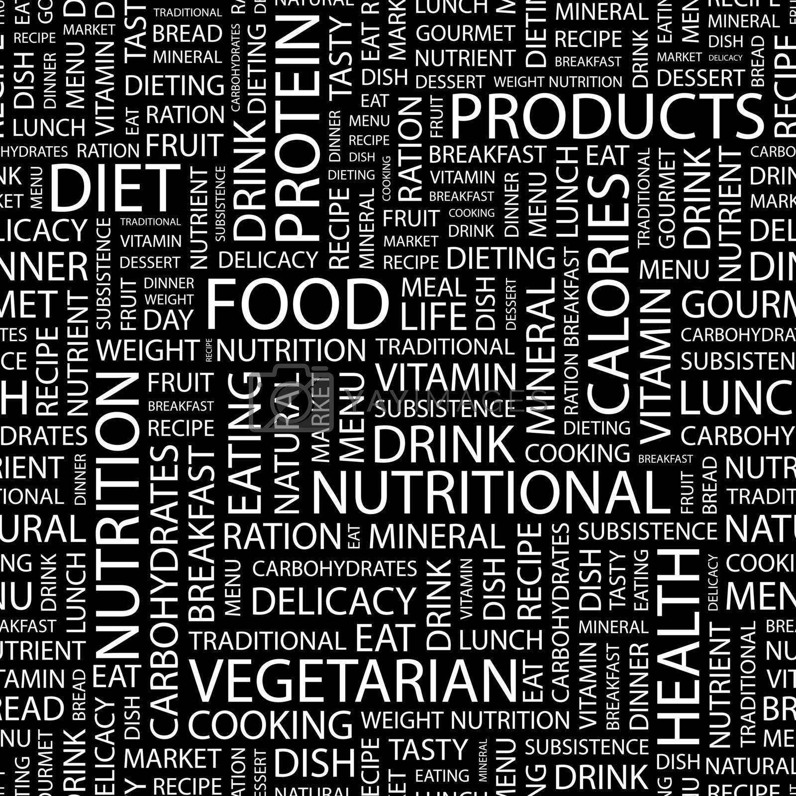 FOOD. Seamless pattern. Word cloud illustration.