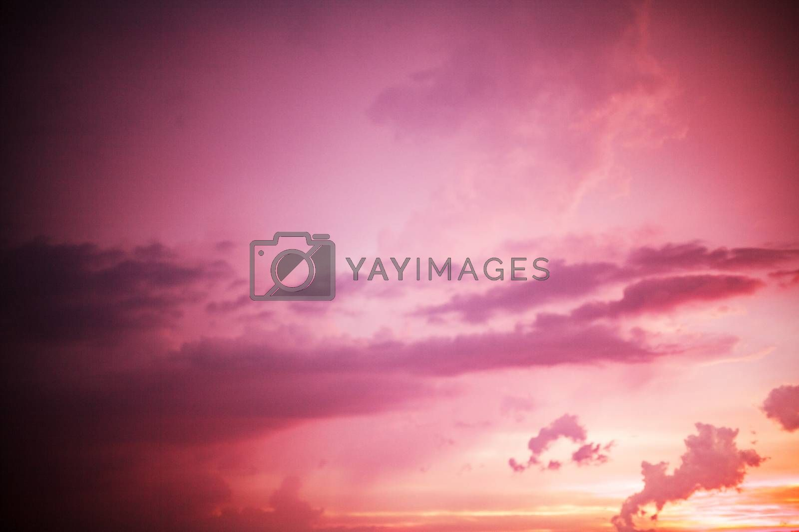 Spectacular purple and orange sunset background sky texture for weather, environmental and nature concepts, full frame