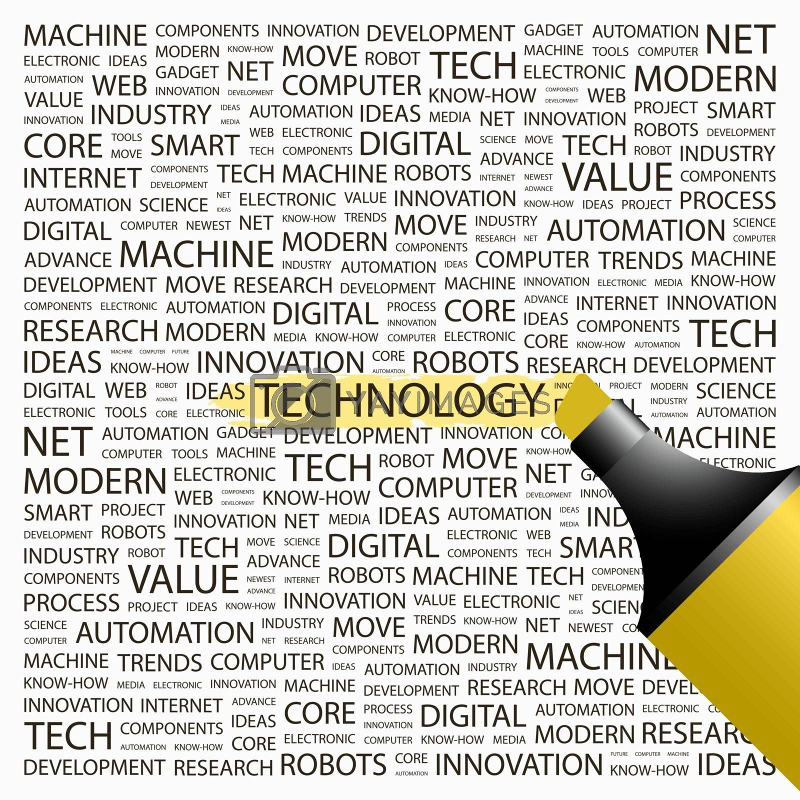 TECHNOLOGY. Background concept wordcloud illustration. Print concept word cloud. Graphic collage.